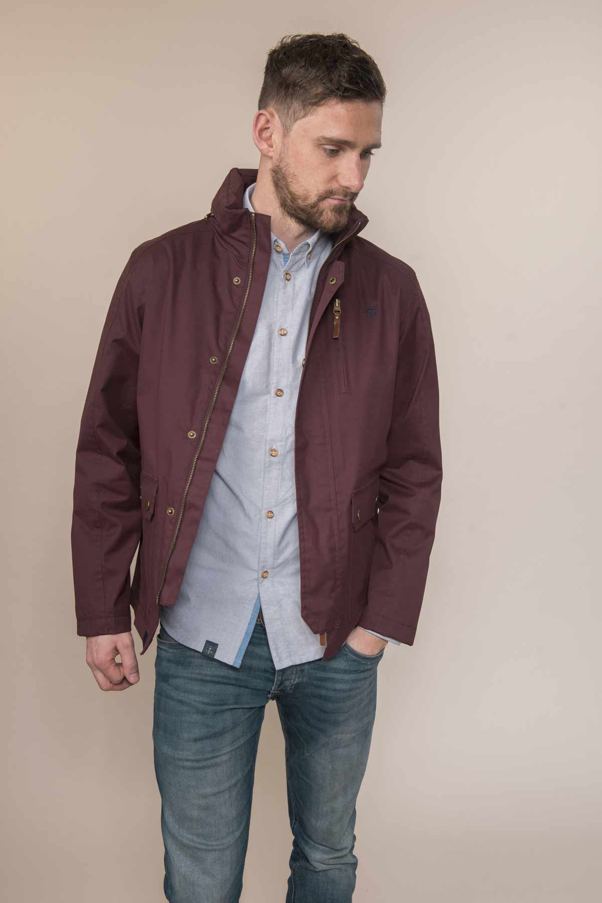 Lighthouse Islander men's oxblood waterproof jacket