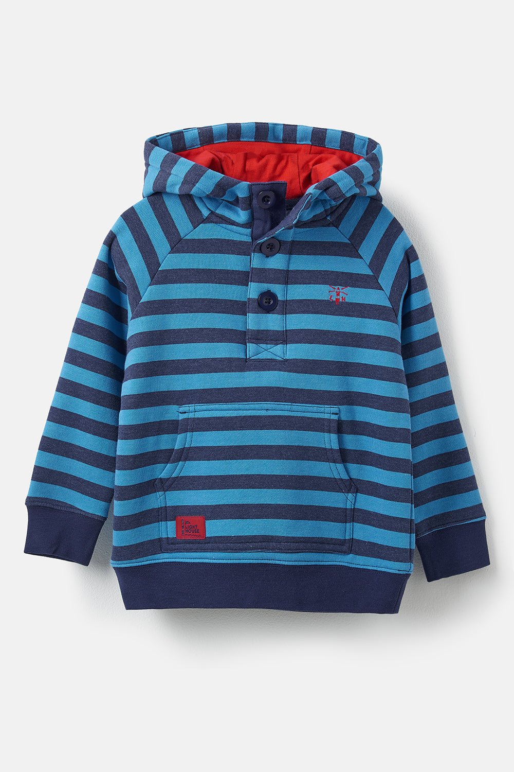Lighthouse Jack Boy's Warm Hoodie - Blue Navy Stripe