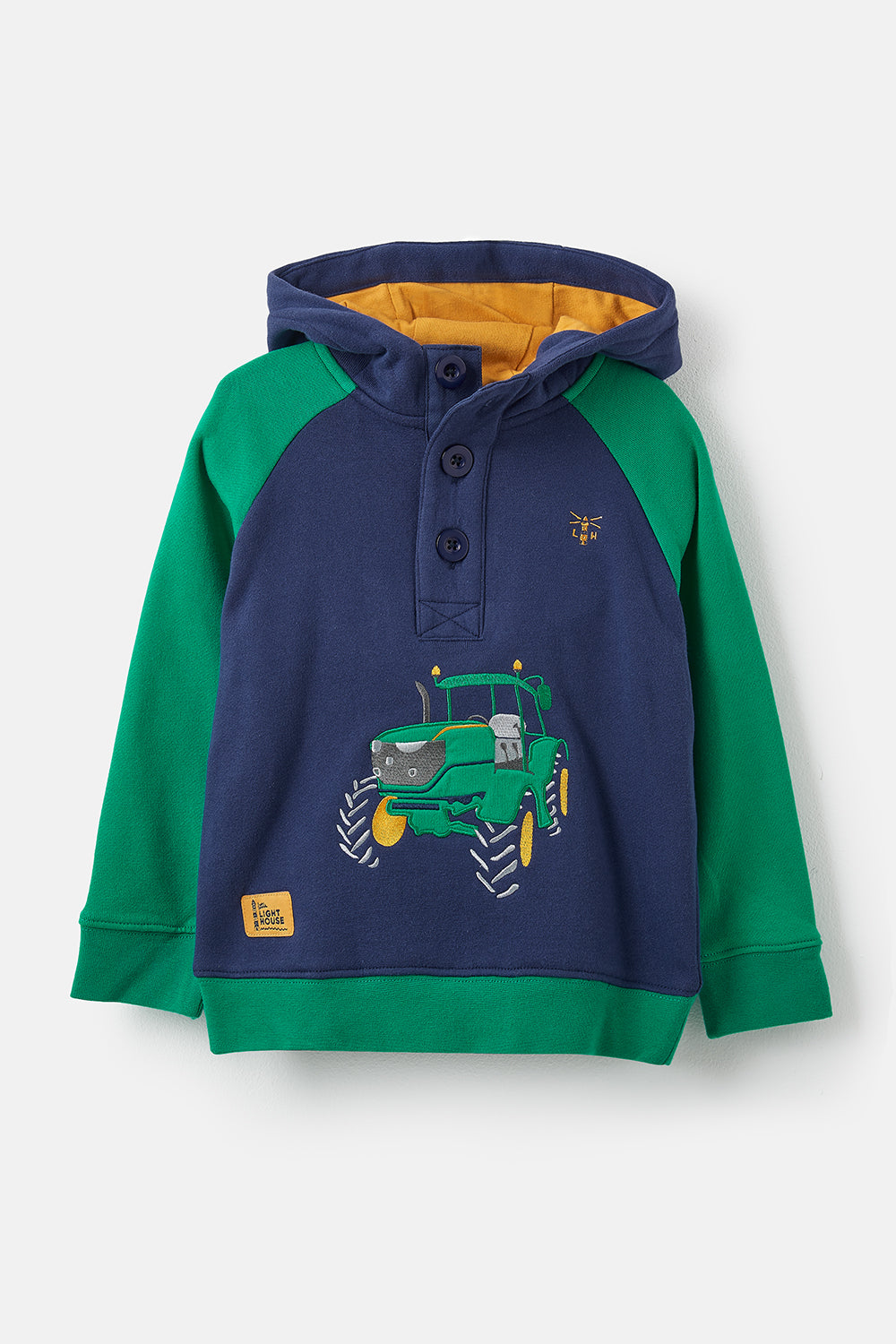 Lighthouse Jack Boy's Warm Hoodie - Tractor Print