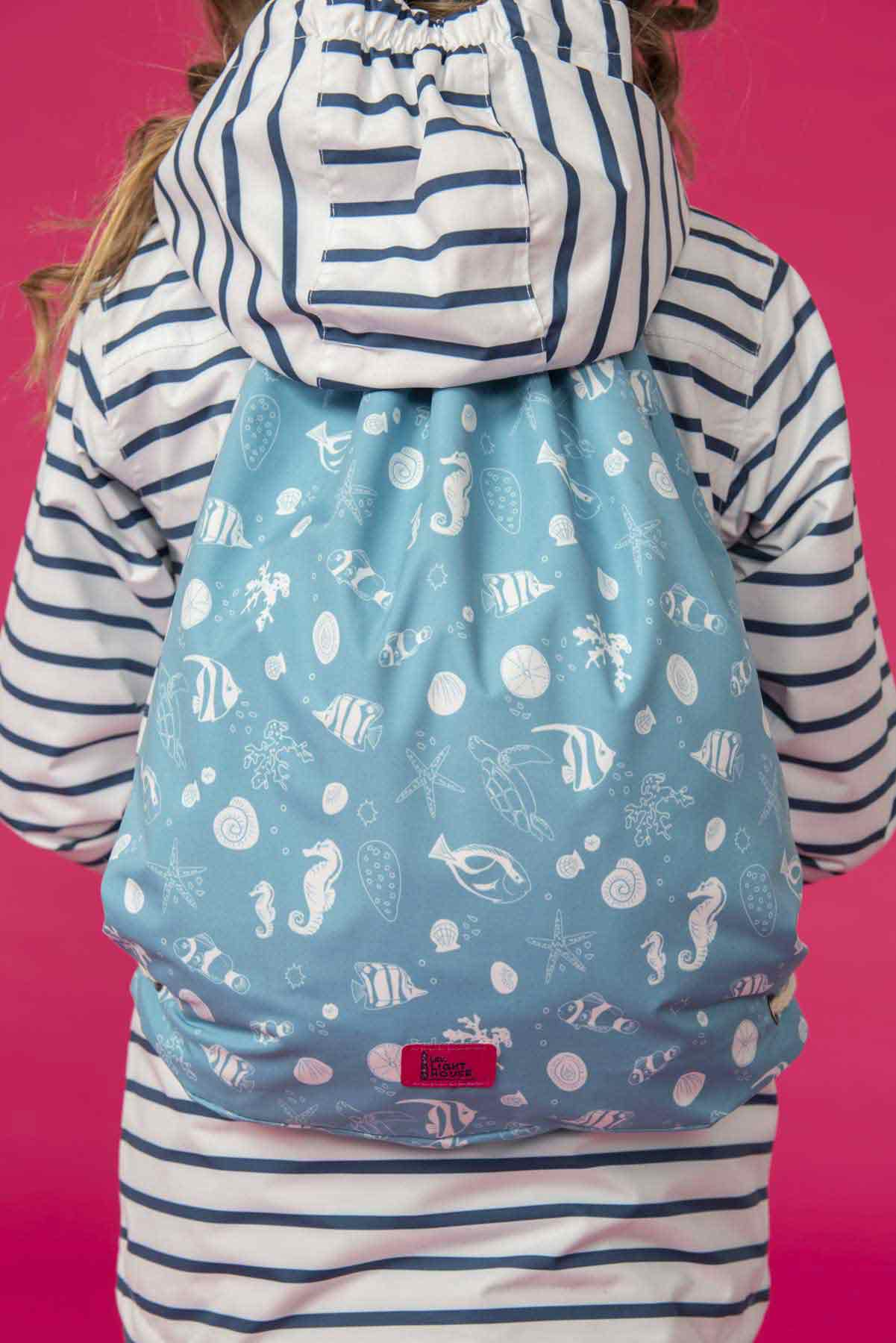 Girl's teal waterproof drawstring bag