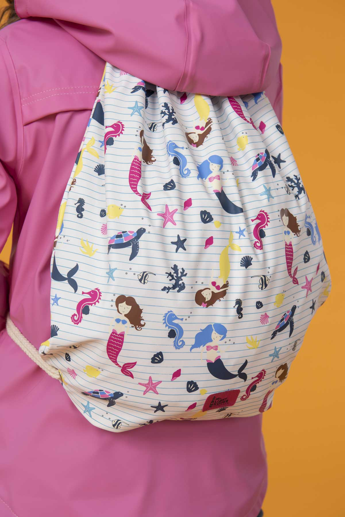 Boy's mermaid print waterproof drawstring bag