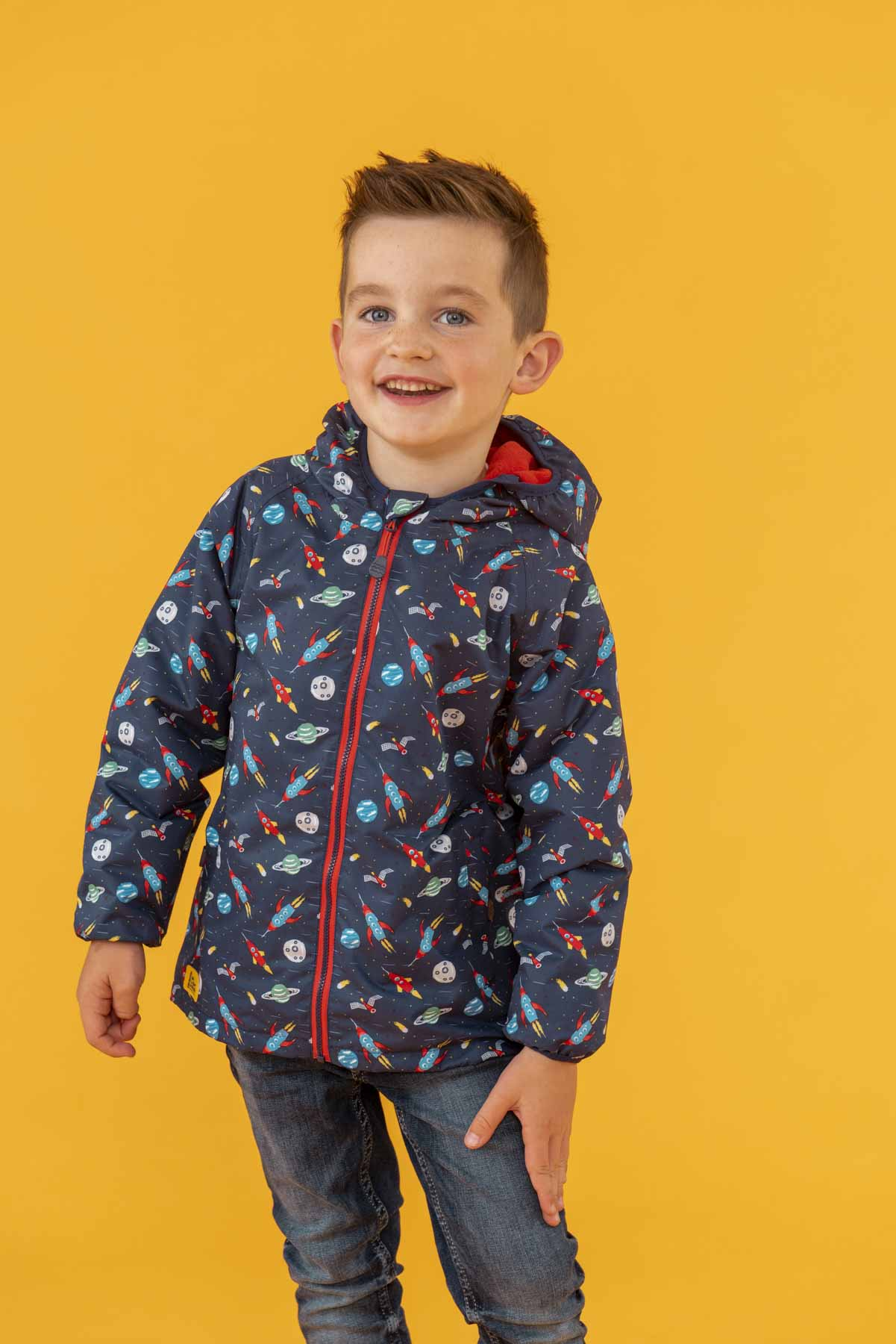 Lucas Coat - Rocket Print, Boy's Warm Raincoat | Lighthouse