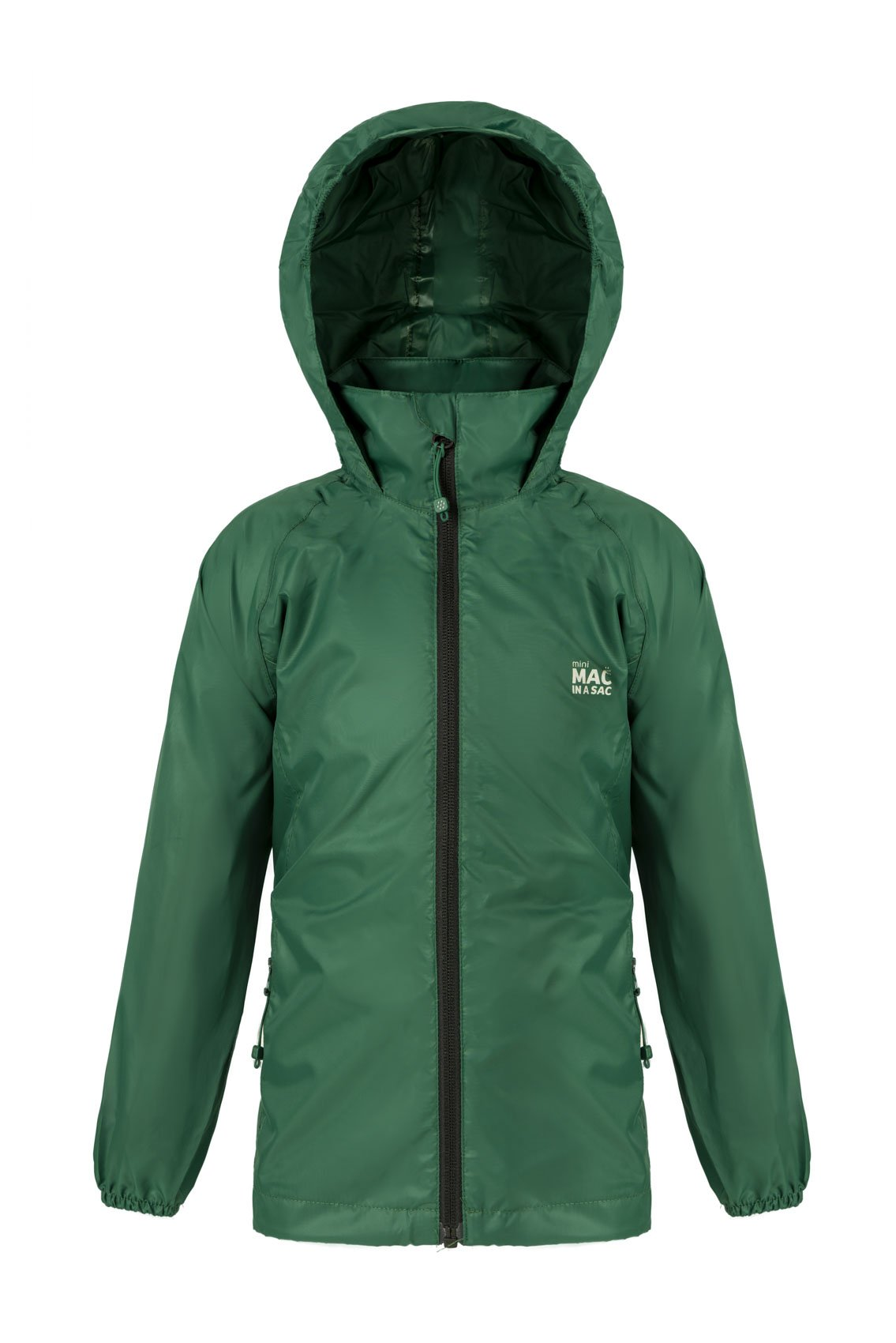 Kids Packable Waterproof Jacket - Bottle Green