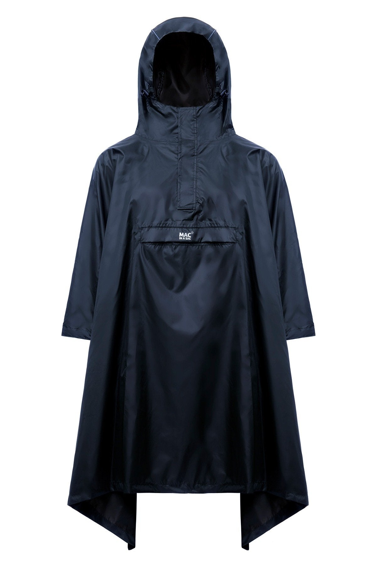 Packable Waterproof Hooded Poncho Cape - Navy