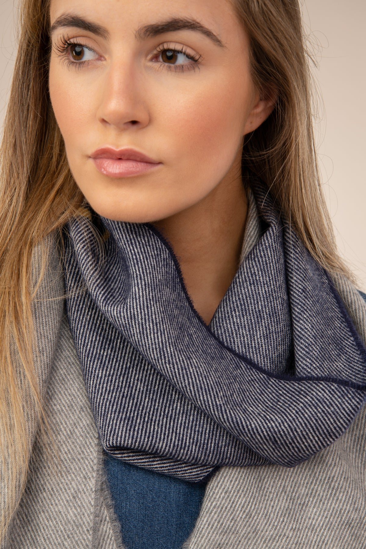 Lighthouse Merino Scarf - Navy Grape Stripe