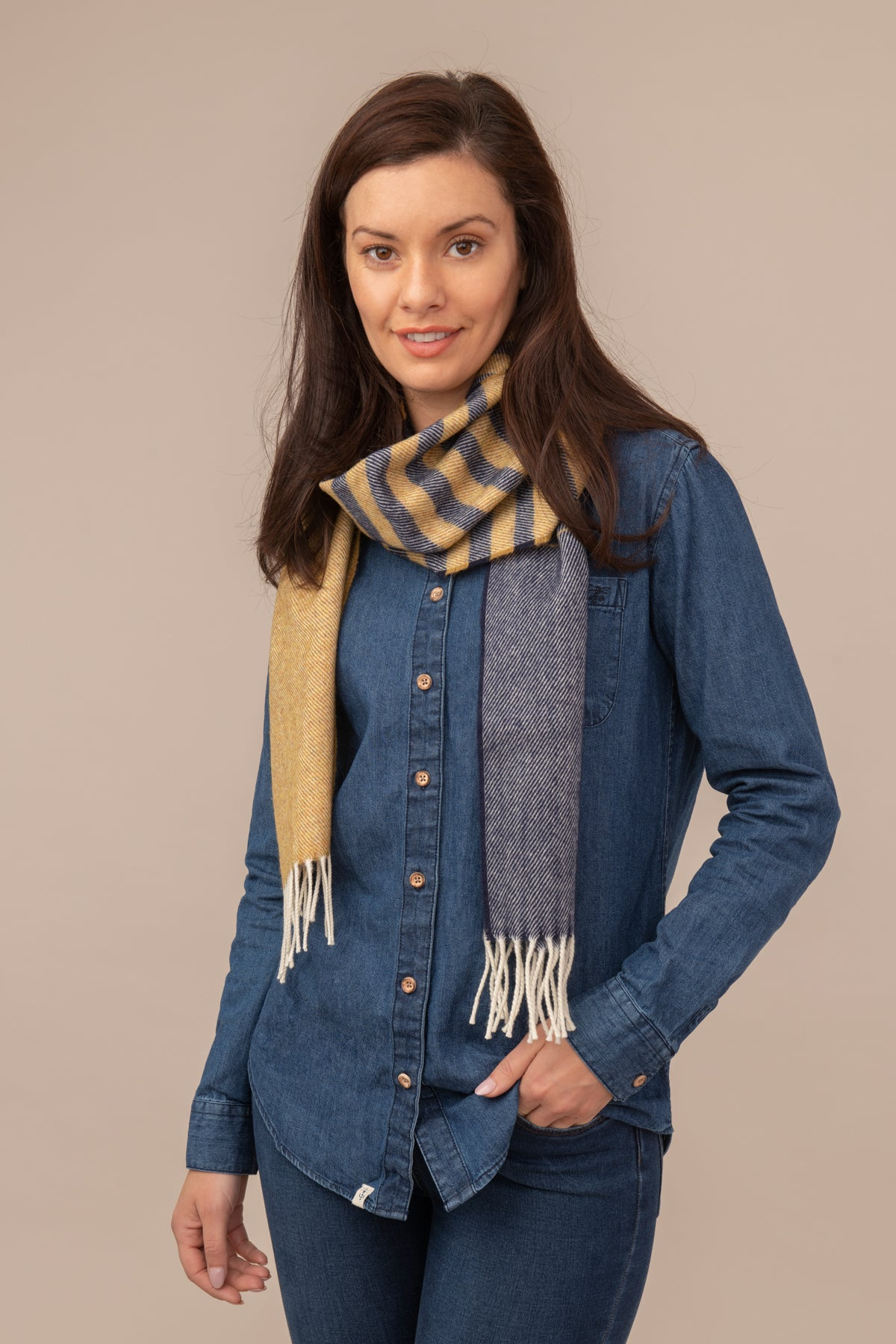 Lighthouse Merino Scarf - Yellow Navy Stripe