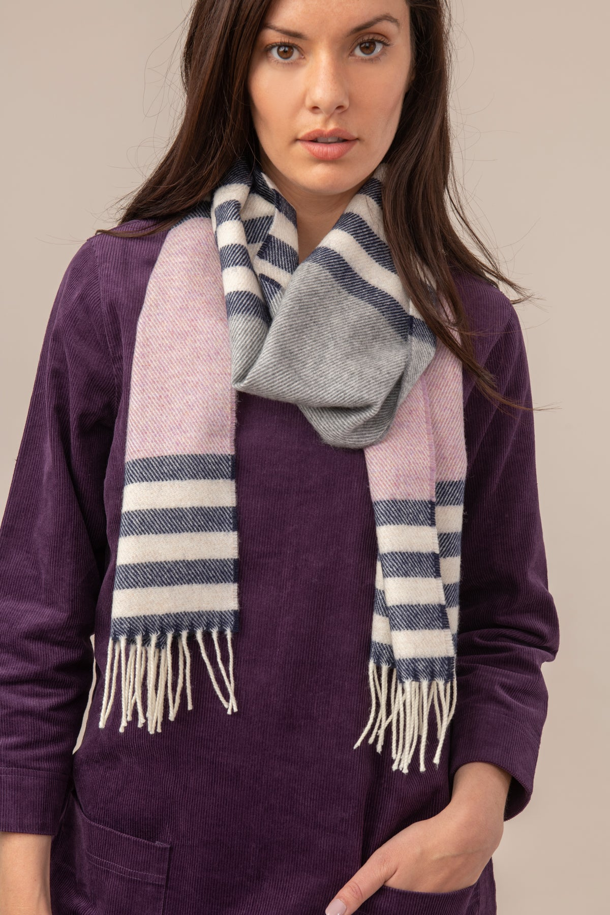 Lighthouse Merino Scarf - Liliac Blue Stripe