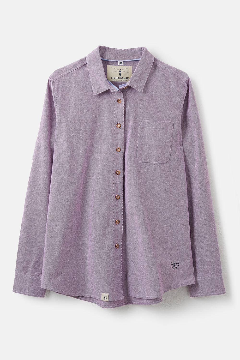 Lighthouse Ocean - Womens Button Up Shirt - Grape