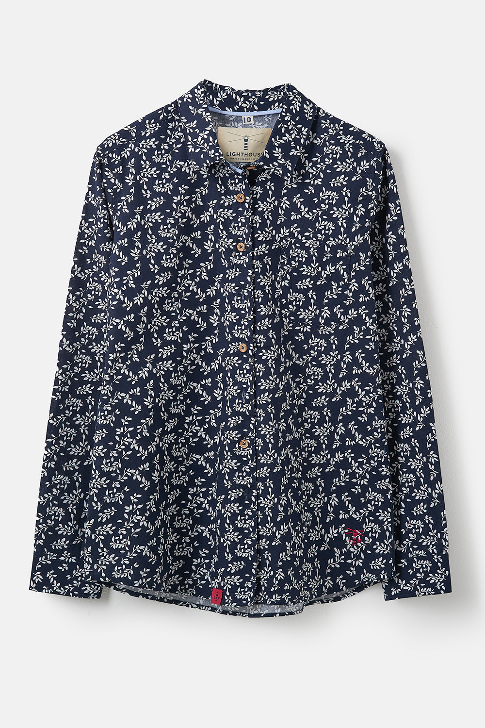 Lighthouse Ocean - Womens Button Up Shirt - Night Sky Floral