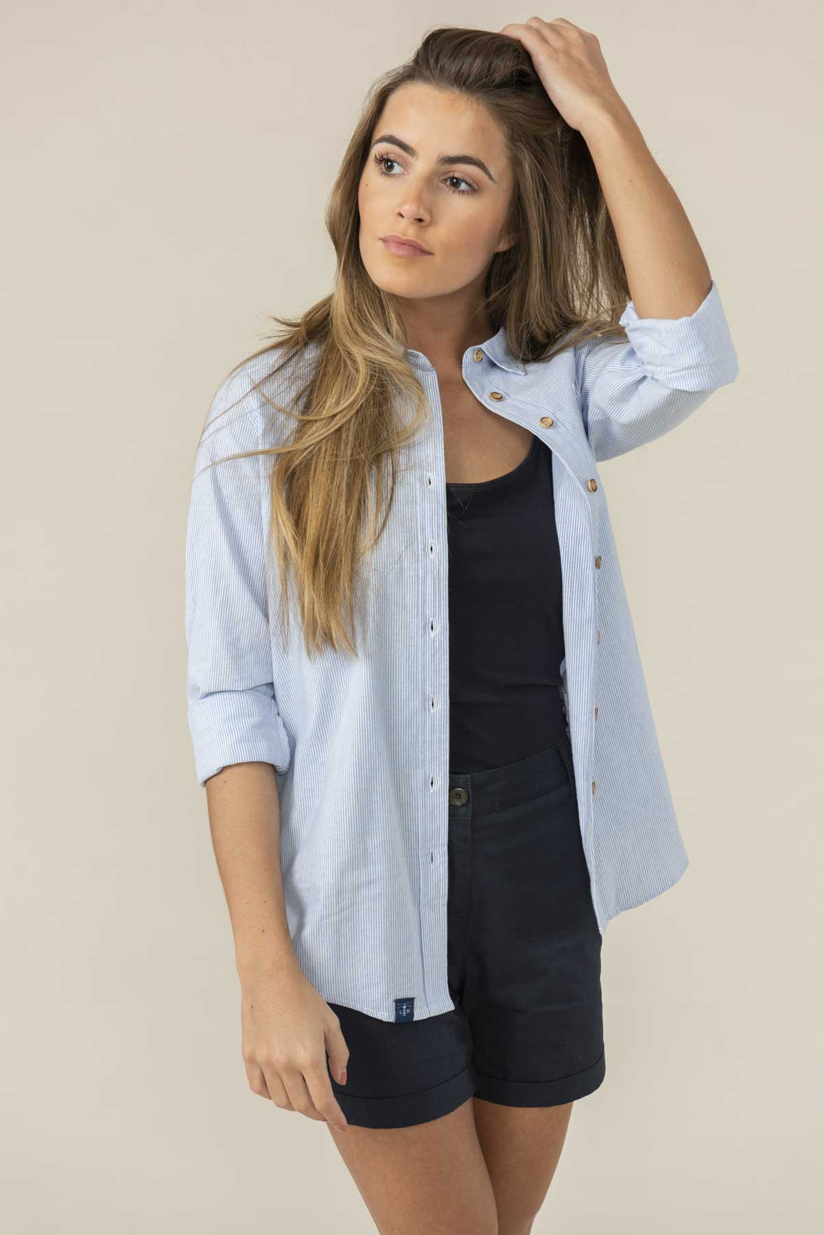 Lighthouse Ocean - Womens Button Up Shirt - Oxford Stripe