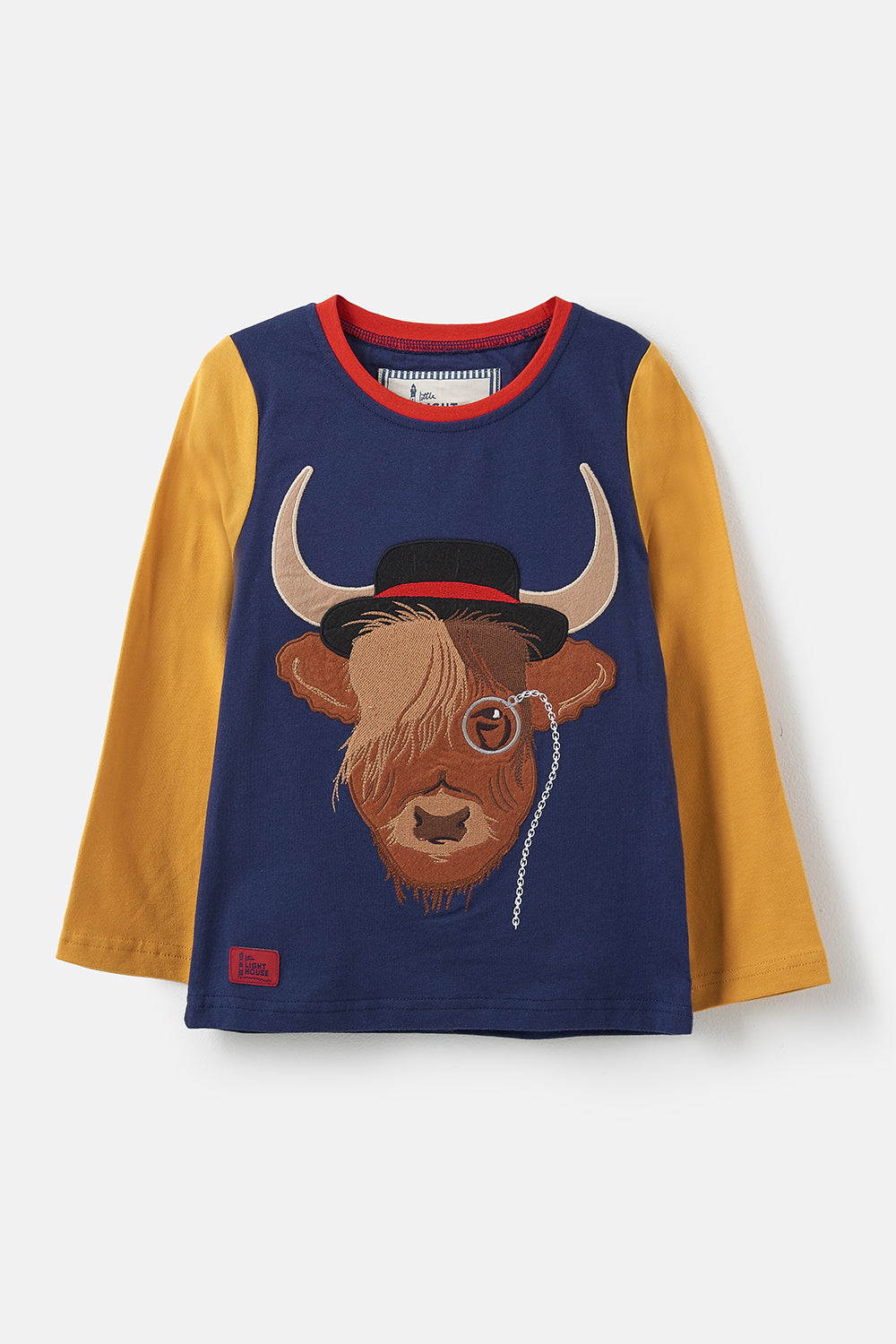 Lighthouse Oliver Boys Long Sleeve Top - Aberdeen Angus Cow Print