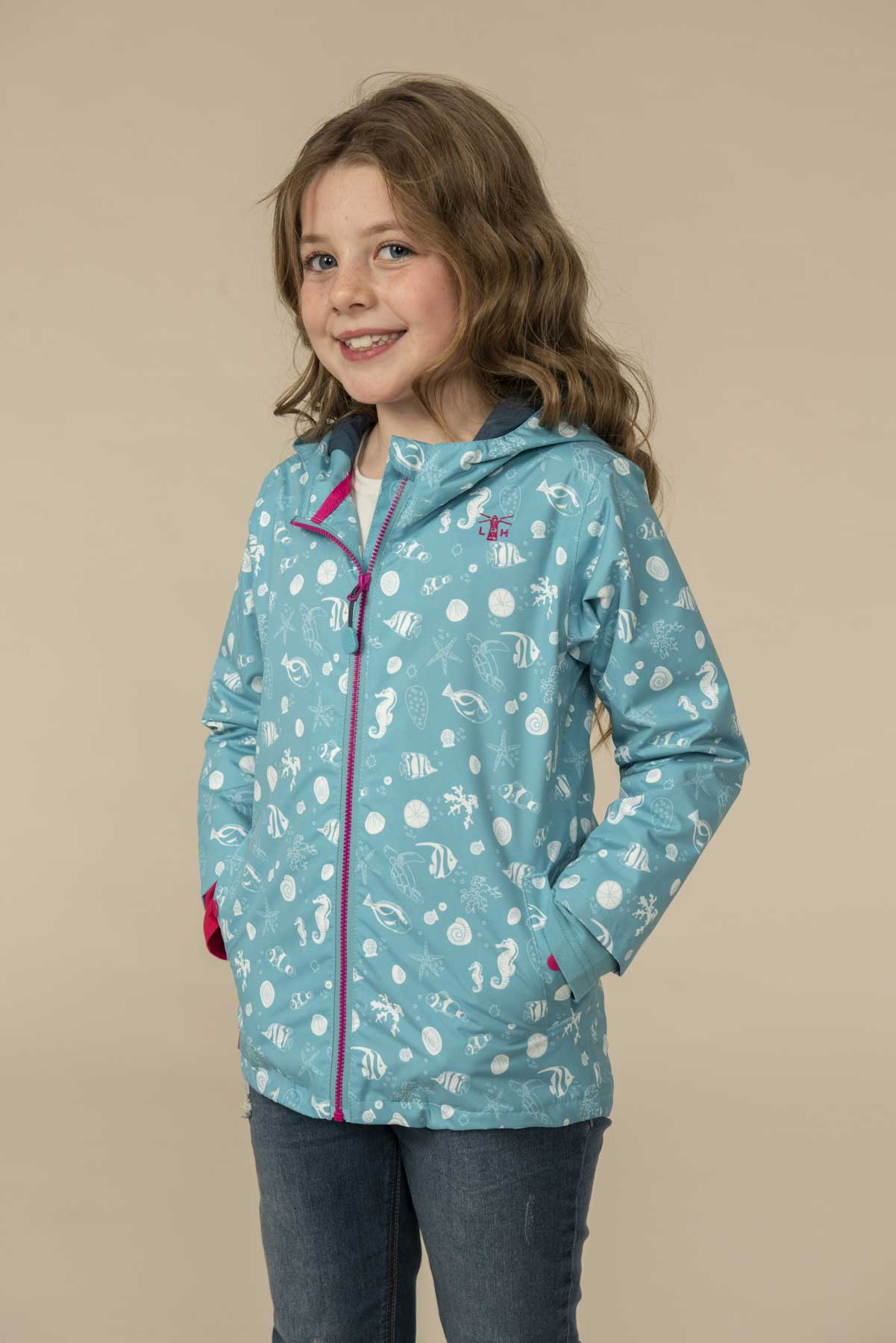 Girl's Coats - Olivia - Teal Seashell Print Raincoat