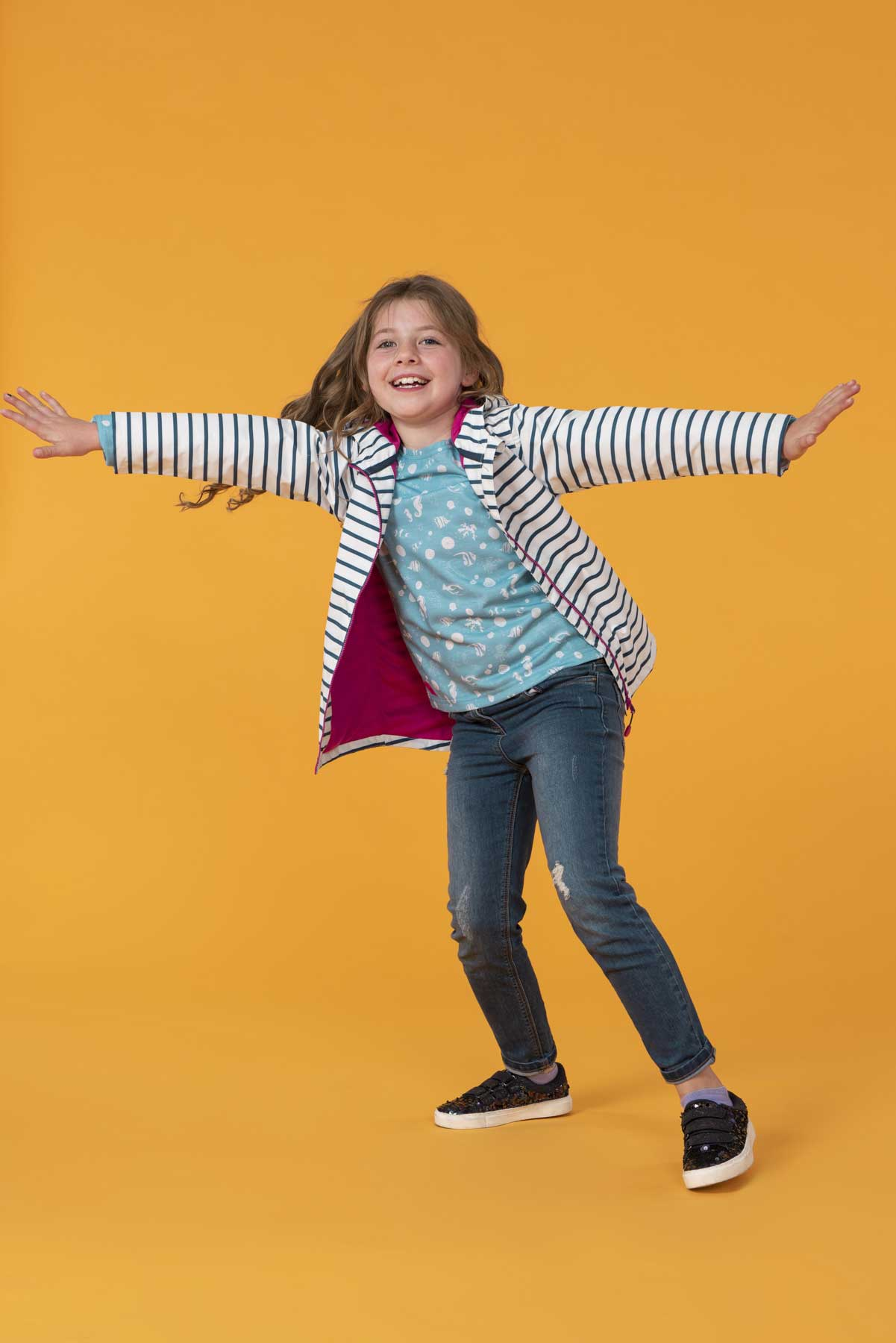 Girl's Coats - Olivia - Blue Striped Raincoat