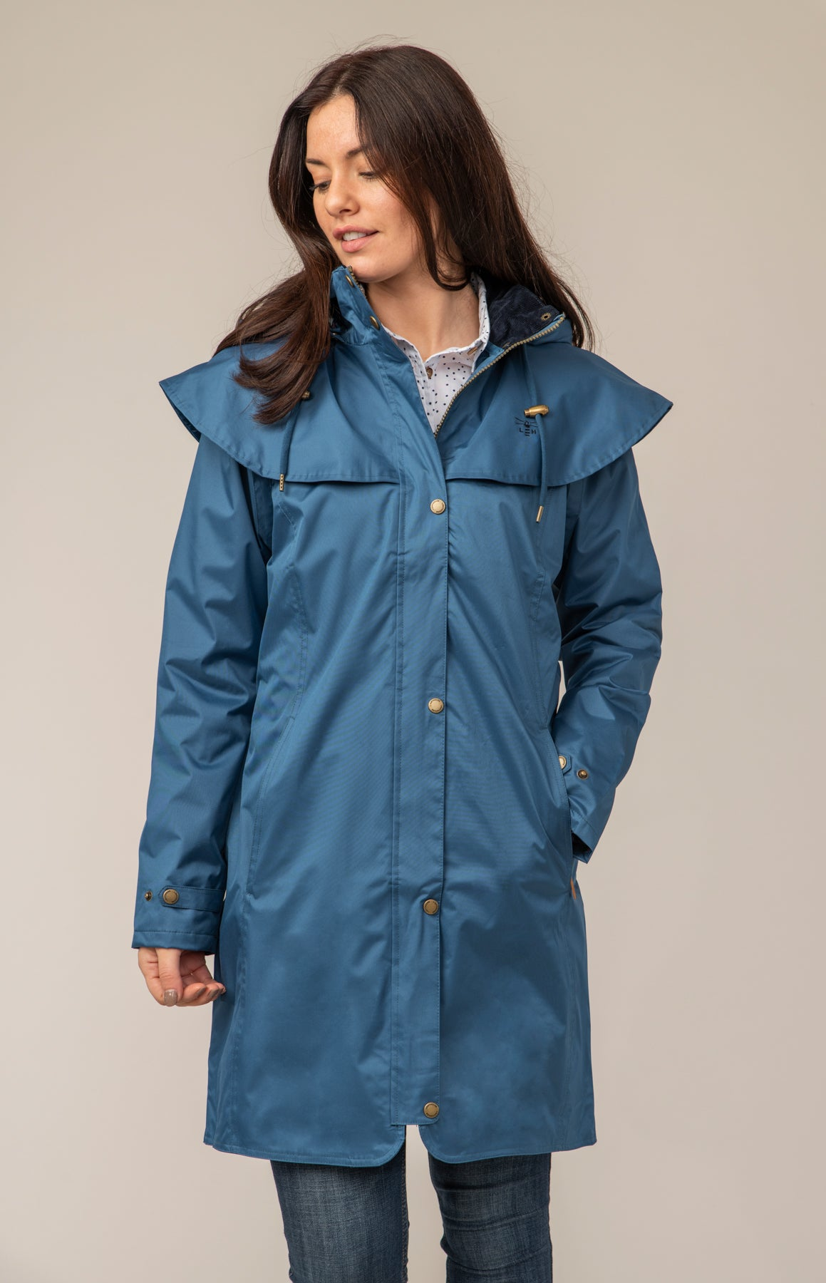 Outrider 3/4 Length Waterproof Raincoat - Deep Sea