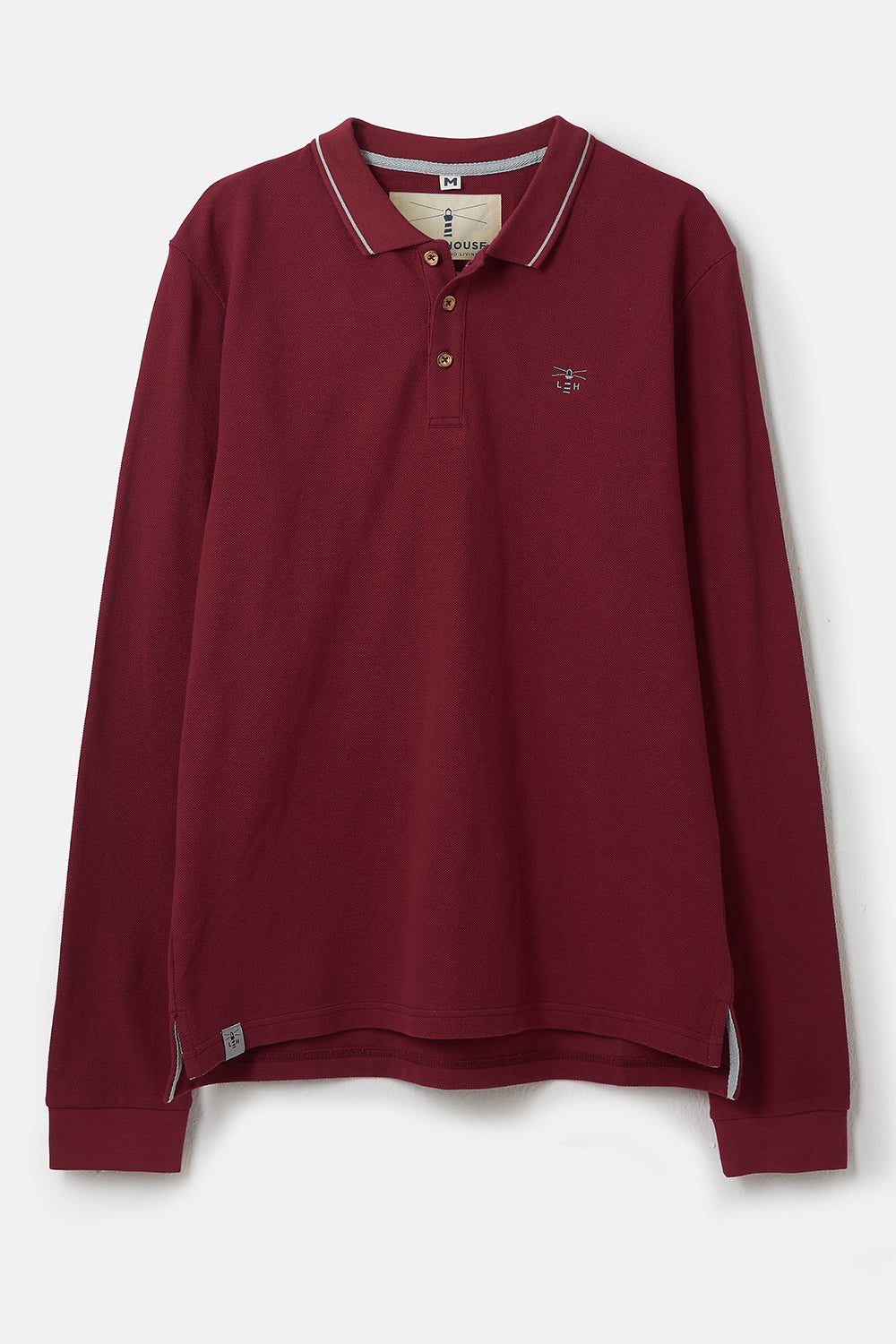 Pier Long Sleeve Polo - Red. Classic Long Sleeve Style | Lighthouse