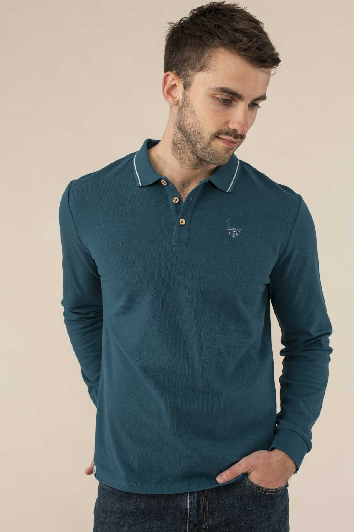 Pier Long Sleeve Polo - Blue Steel