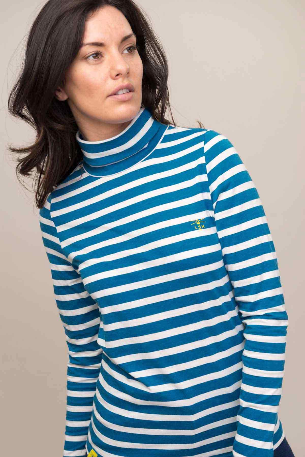 Piper Top - Aqua Haze Stripe