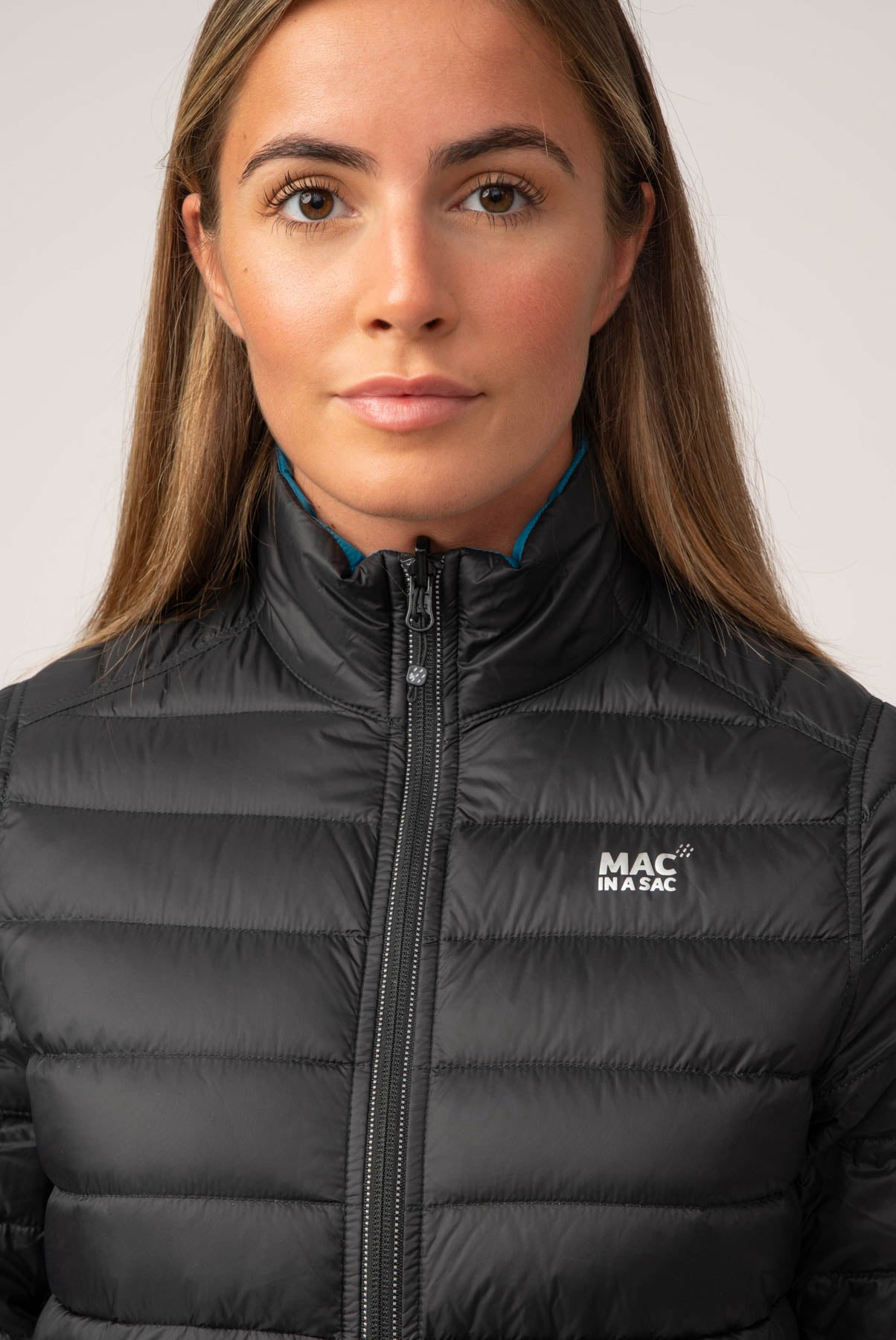 Polar II Womens Down Jacket - Jet Black Teal