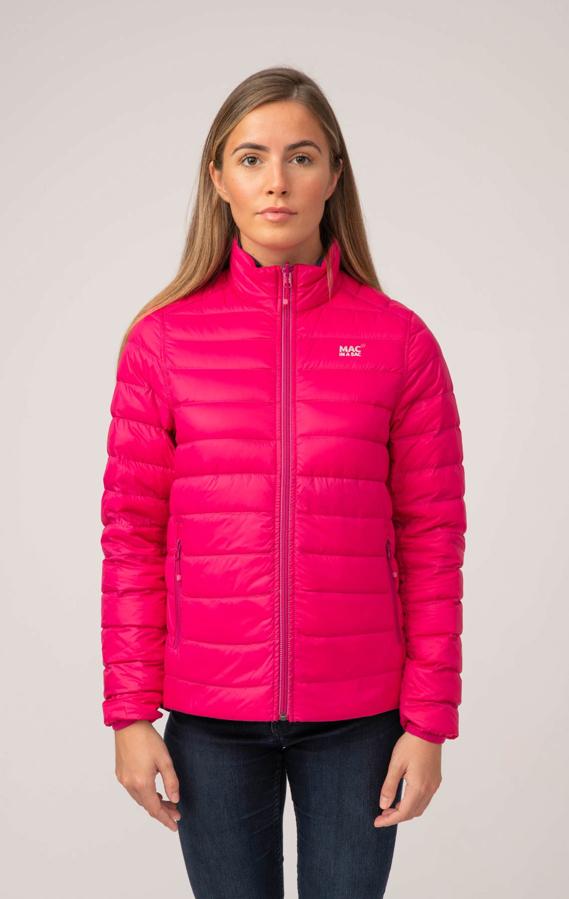 Polar II Womens Down Jacket - Fuchsia Navy
