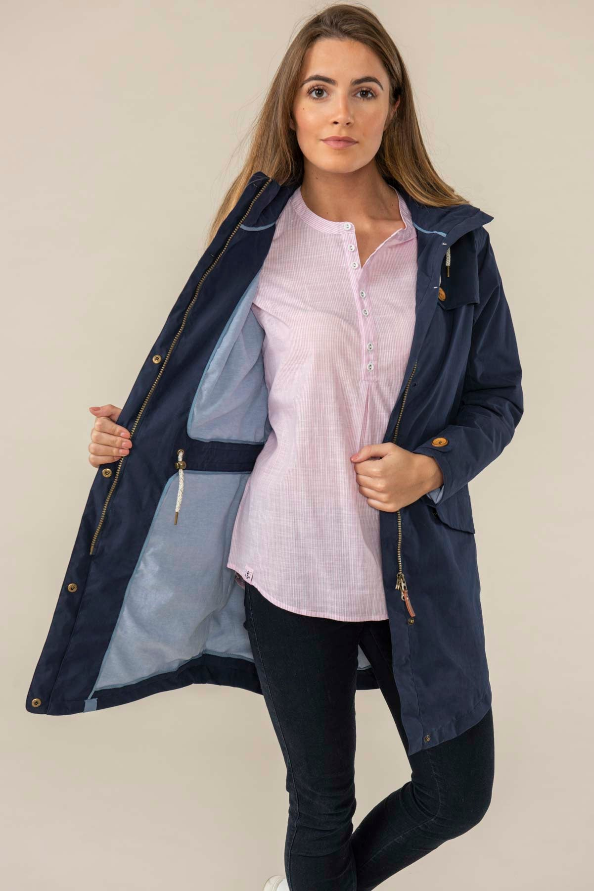 Women's Coats - Rathlin - Navy Raincoat