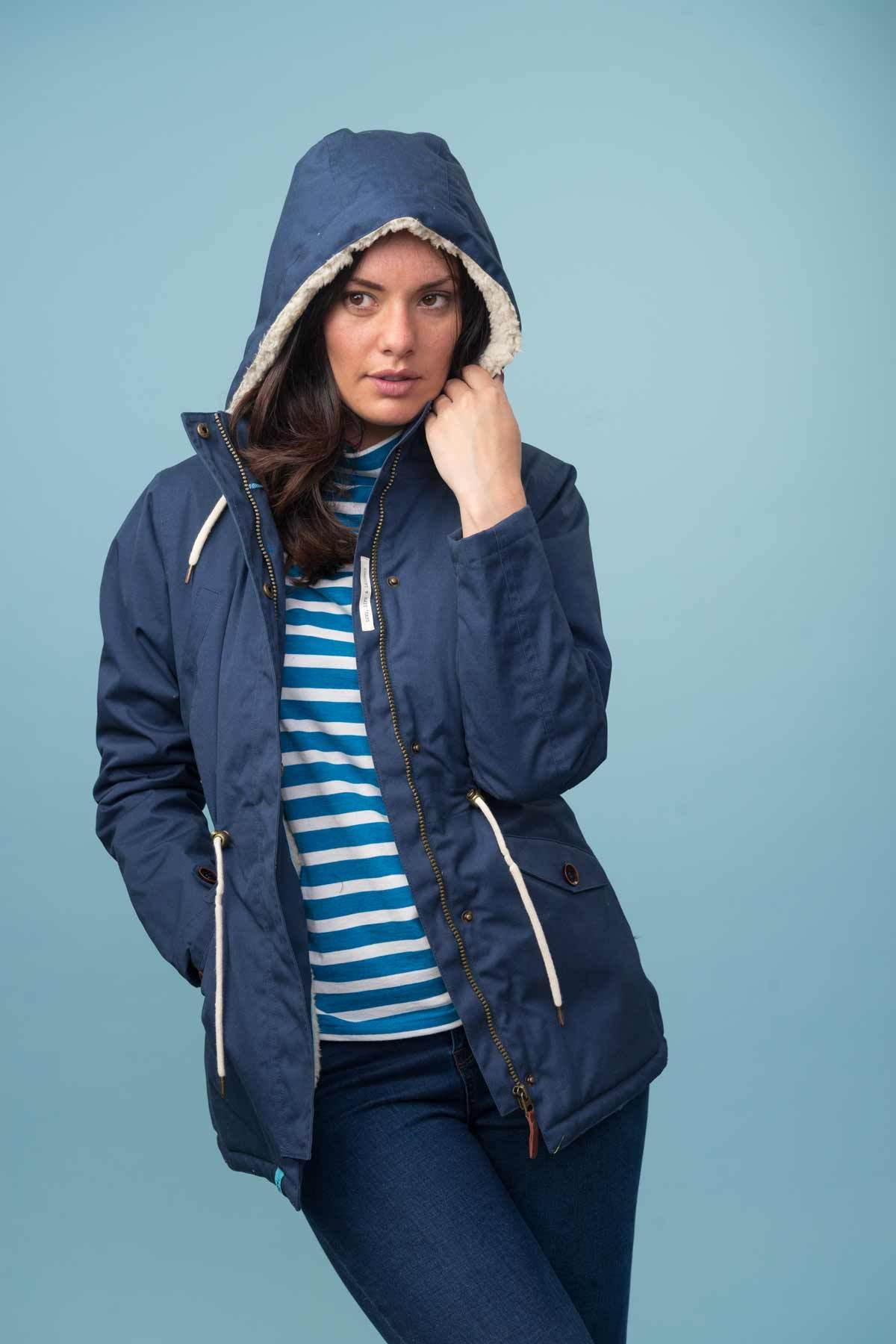 Lighthouse Raven - Womens Padded Raincoat - Navy