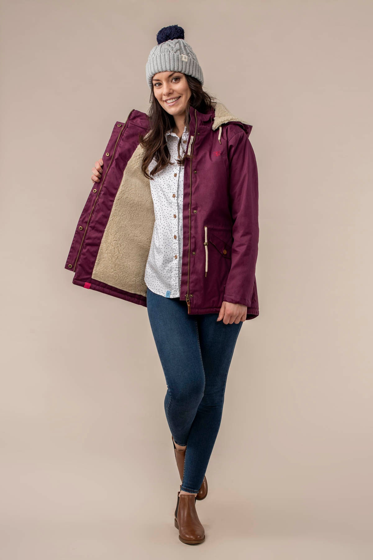 Lighthouse Raven Ladies Waterproof Coat Plum
