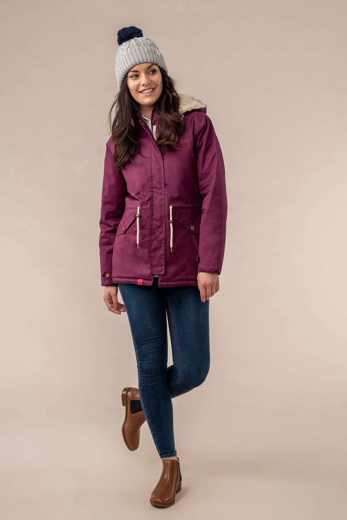 Raven Coat - Plum, Womens fleece lined waterproof purple raincoat | Lighthouse