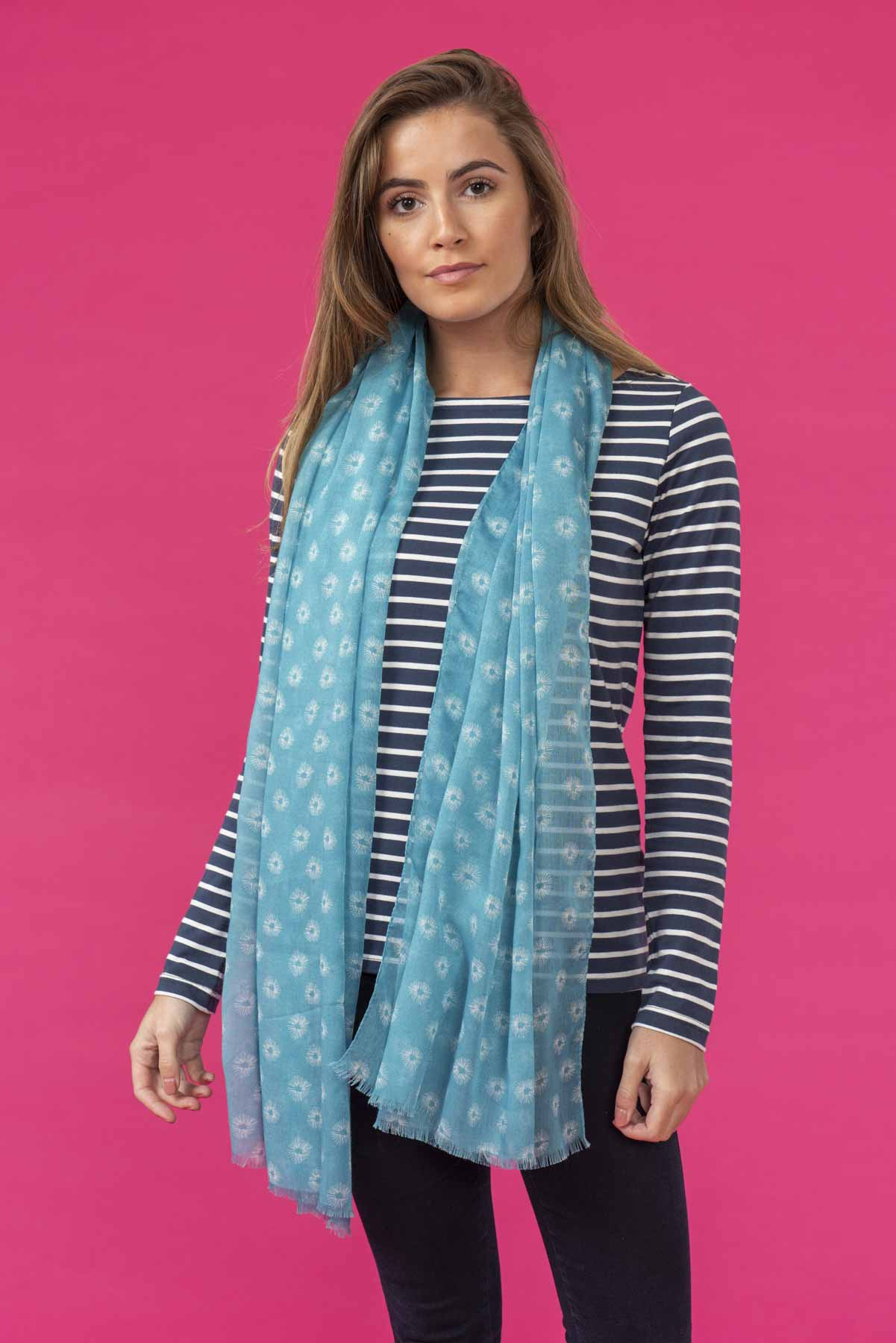 Women's Accessories - Riviera - Blue patterned scarf