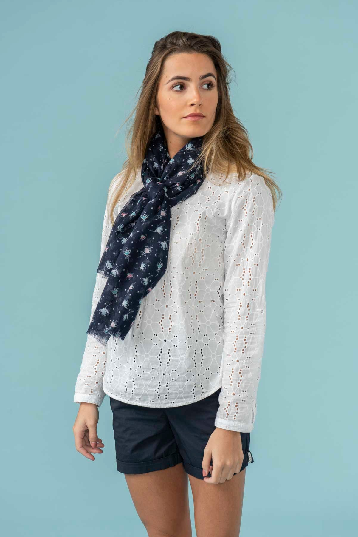 Women's Accessories - Navy patterned scarf