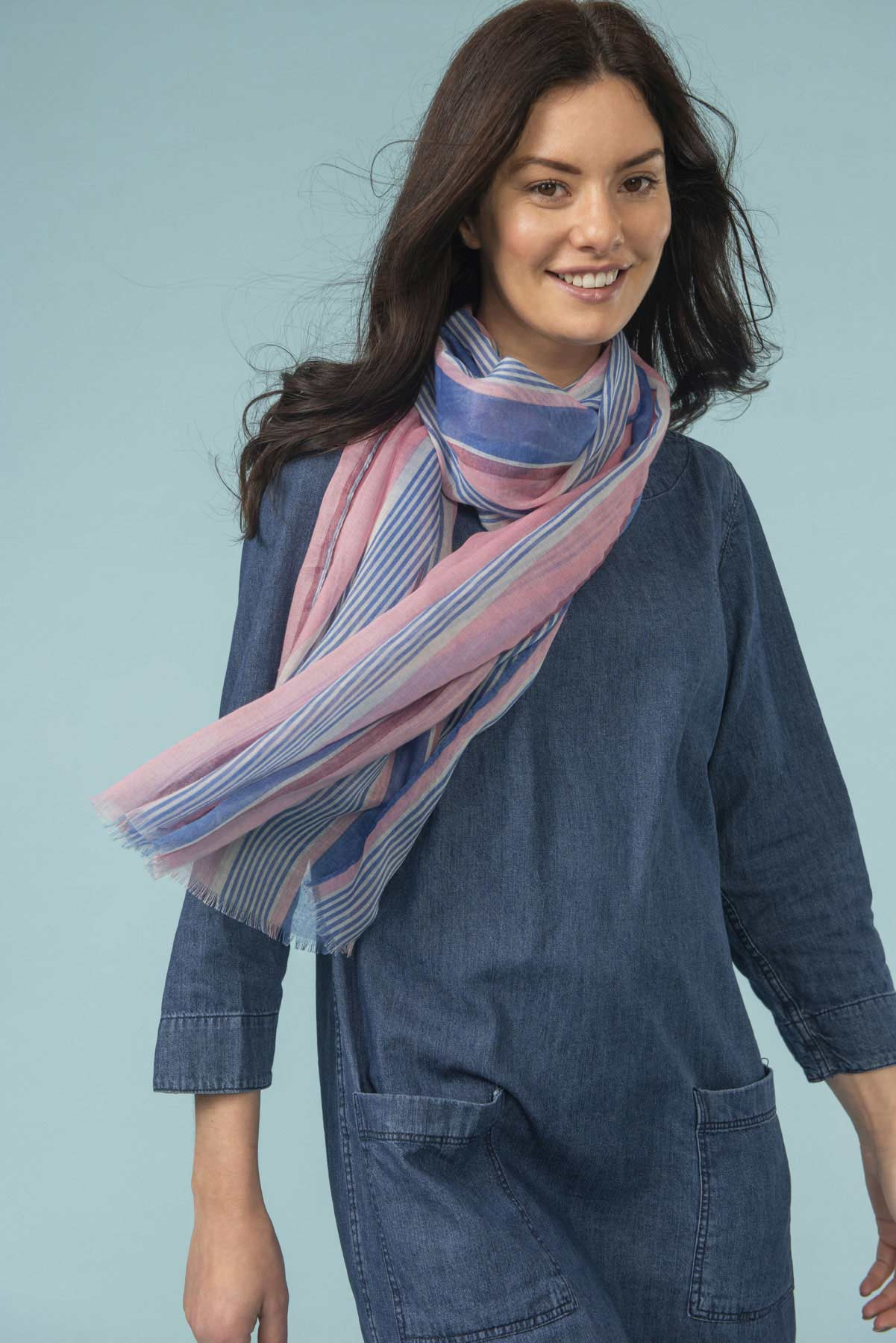 Women's Accessories - Pink striped scarf