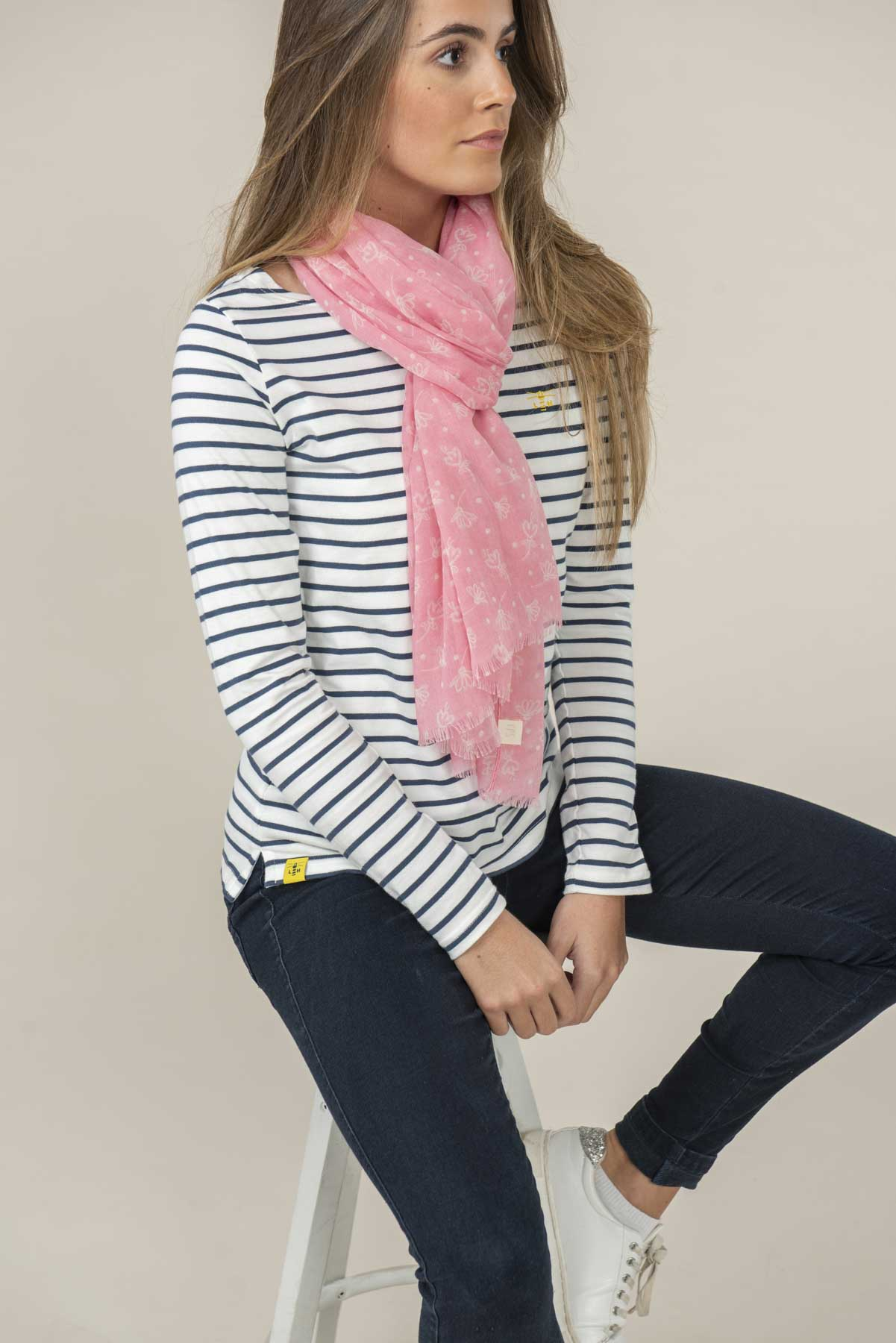 Women's Accessories - Pink patterned scarf