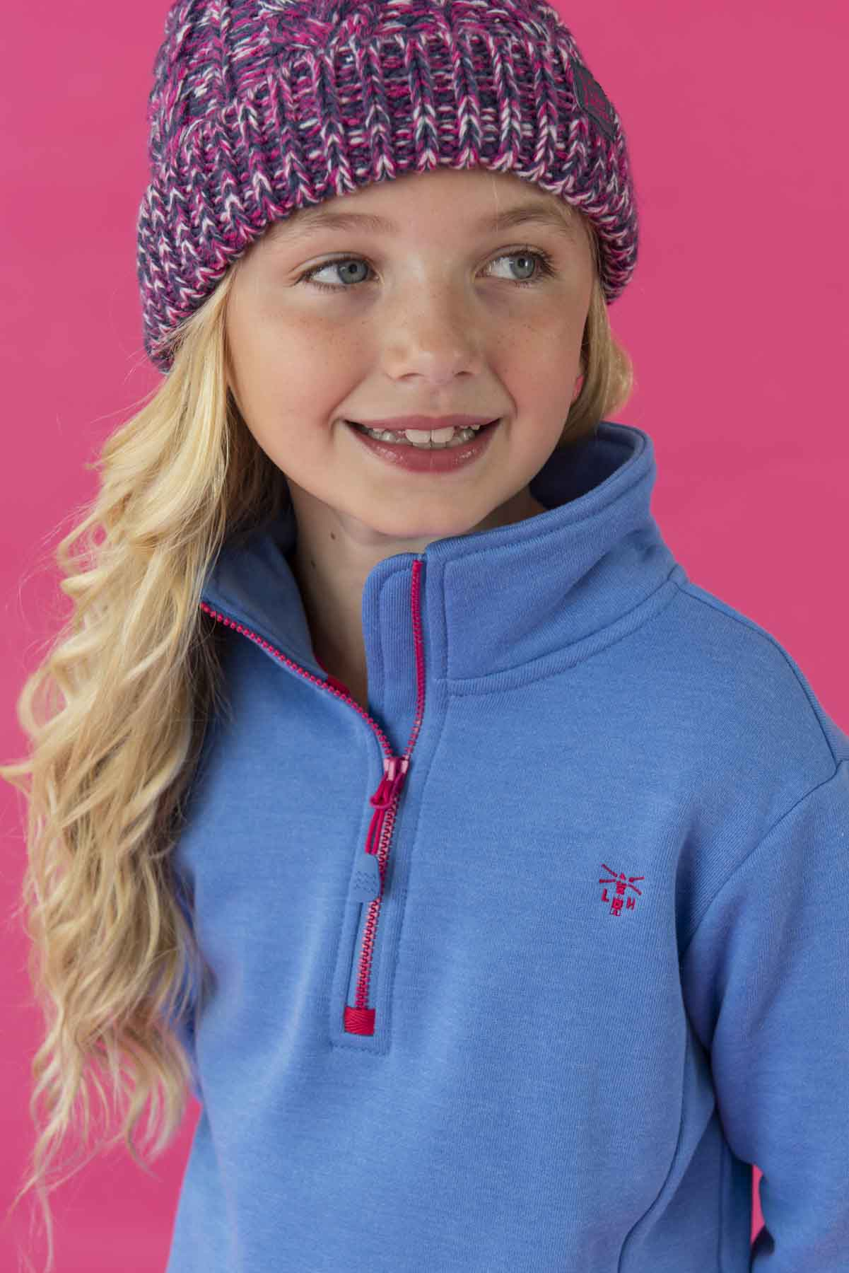Robyn Sweatshirt - Blue, Girl's Half Zip Top | Lighthouse
