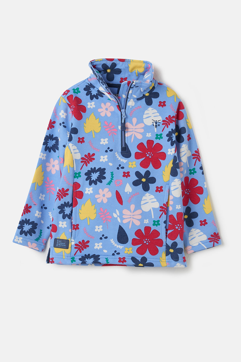 Lighthouse Robyn - Girl's Half Zip Sweatshirt - Light Blue Floral