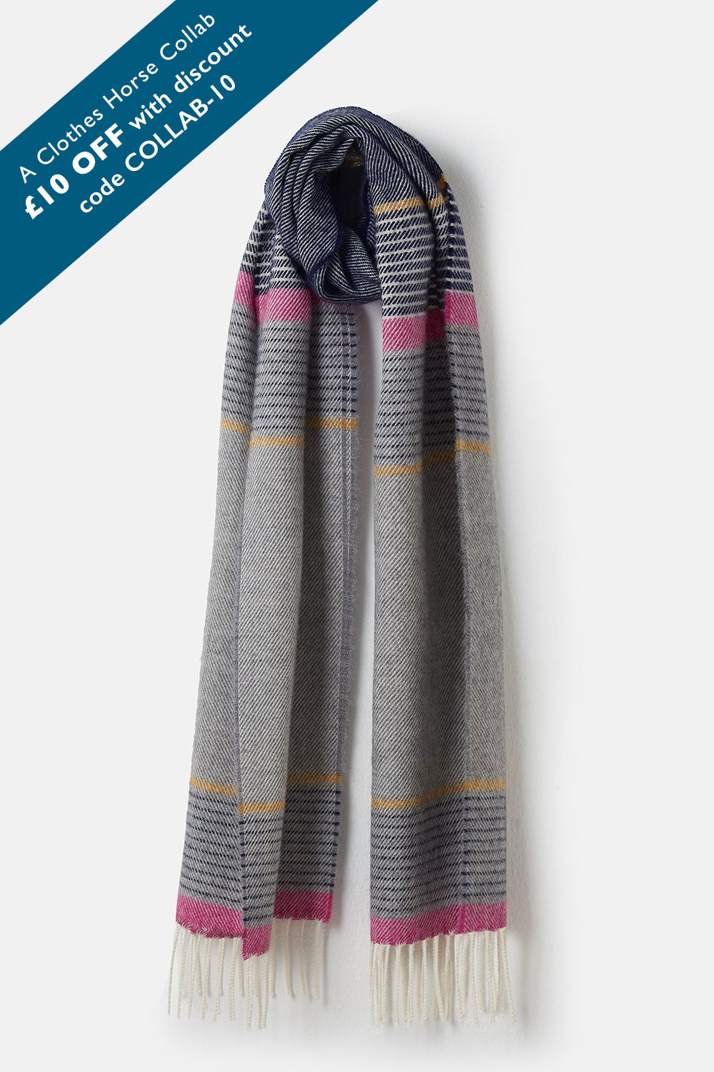 Merino Scarf - Night Sky Grape Stripe