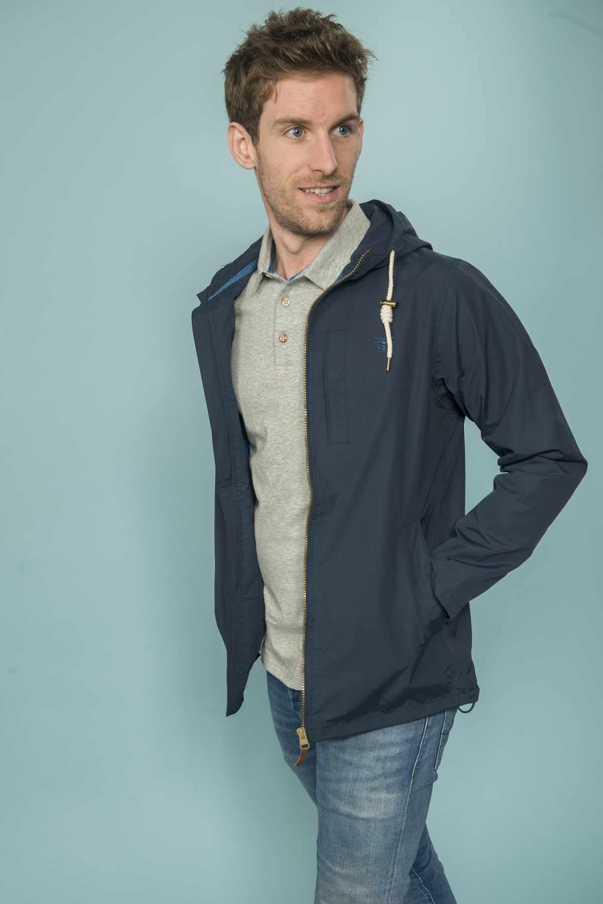 Lighthouse Seaport mens navy waterproof jacket