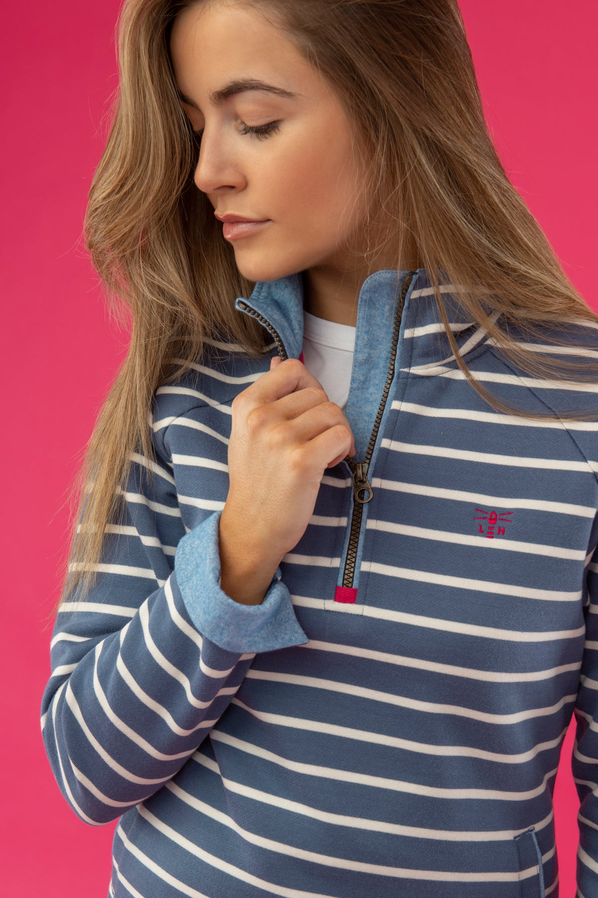 Lighthouse Shore - Womens Sweatshirt - Blue Stripe