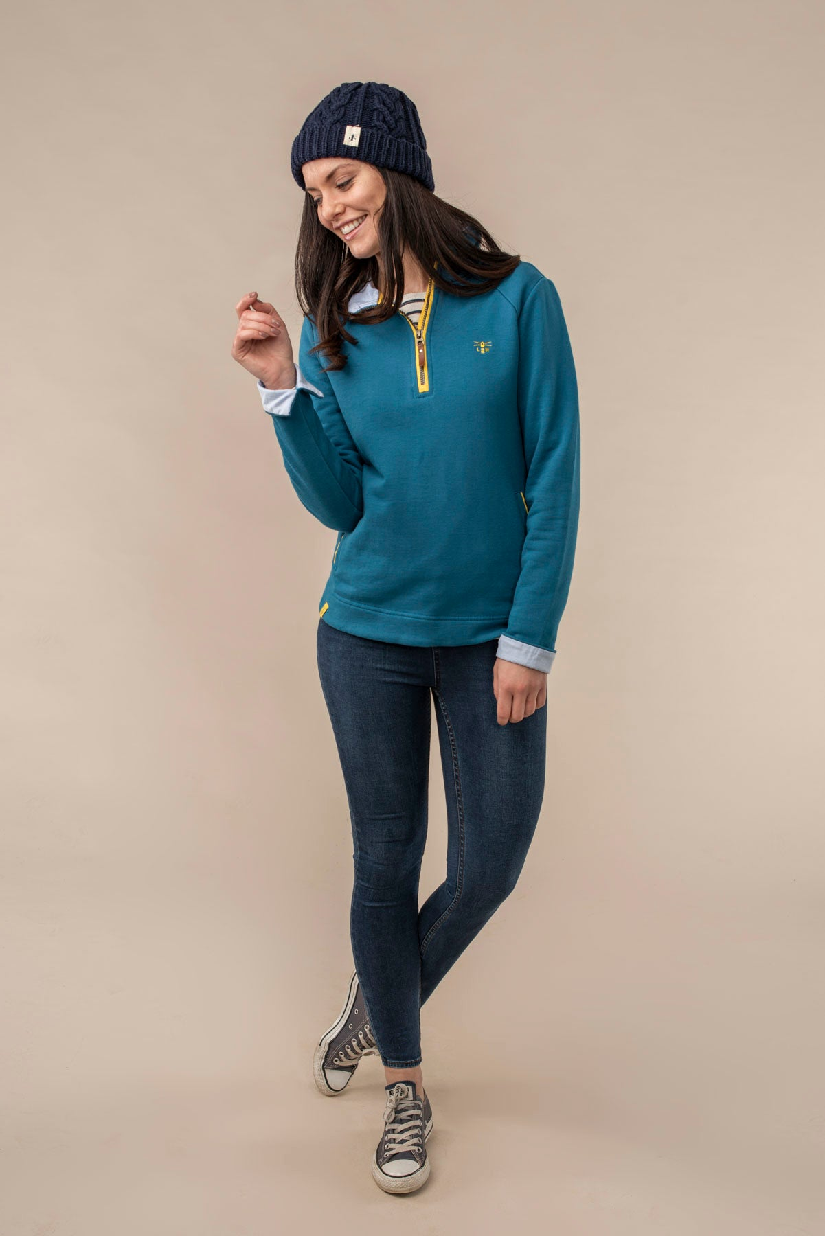 Shore Sweatshirt. 100% Cotton Women's Blue Pullover | Lighthouse
