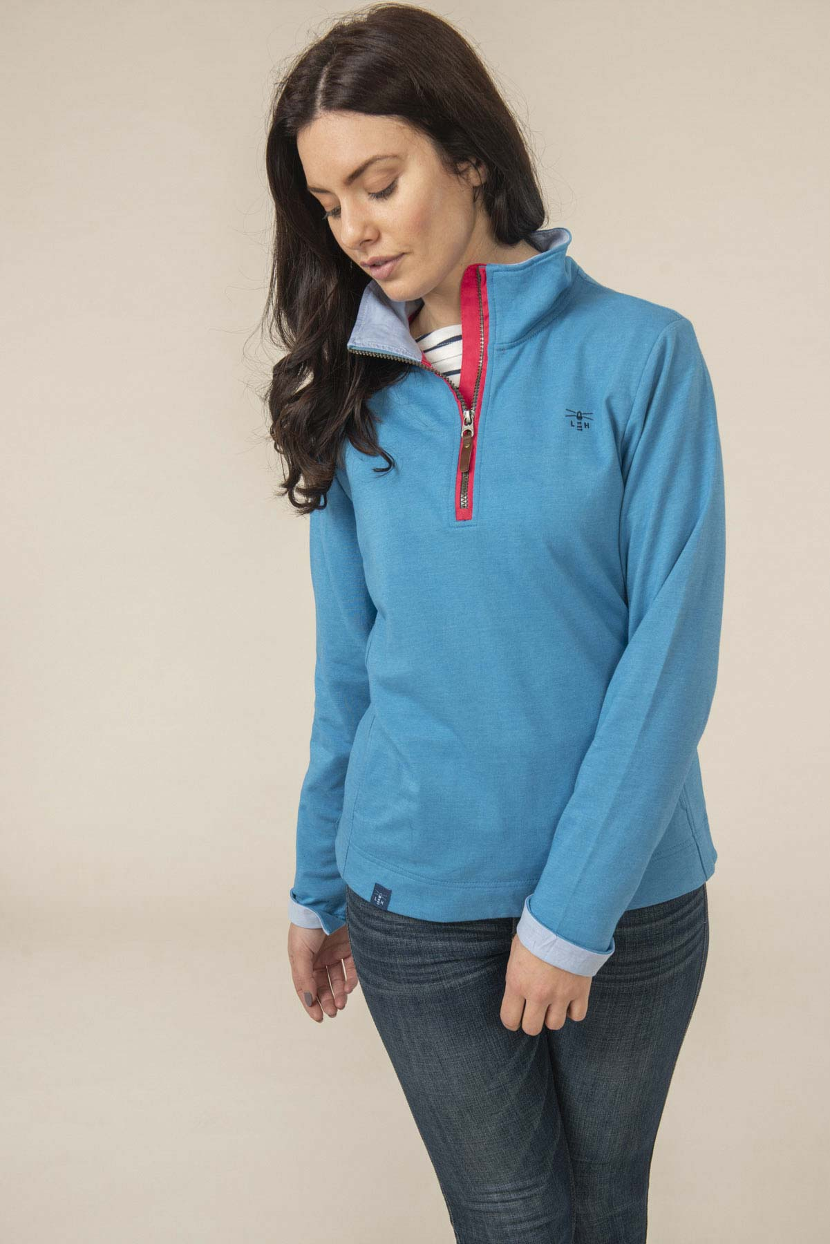 Shore Women's Blue Half Zip Sweatshirt