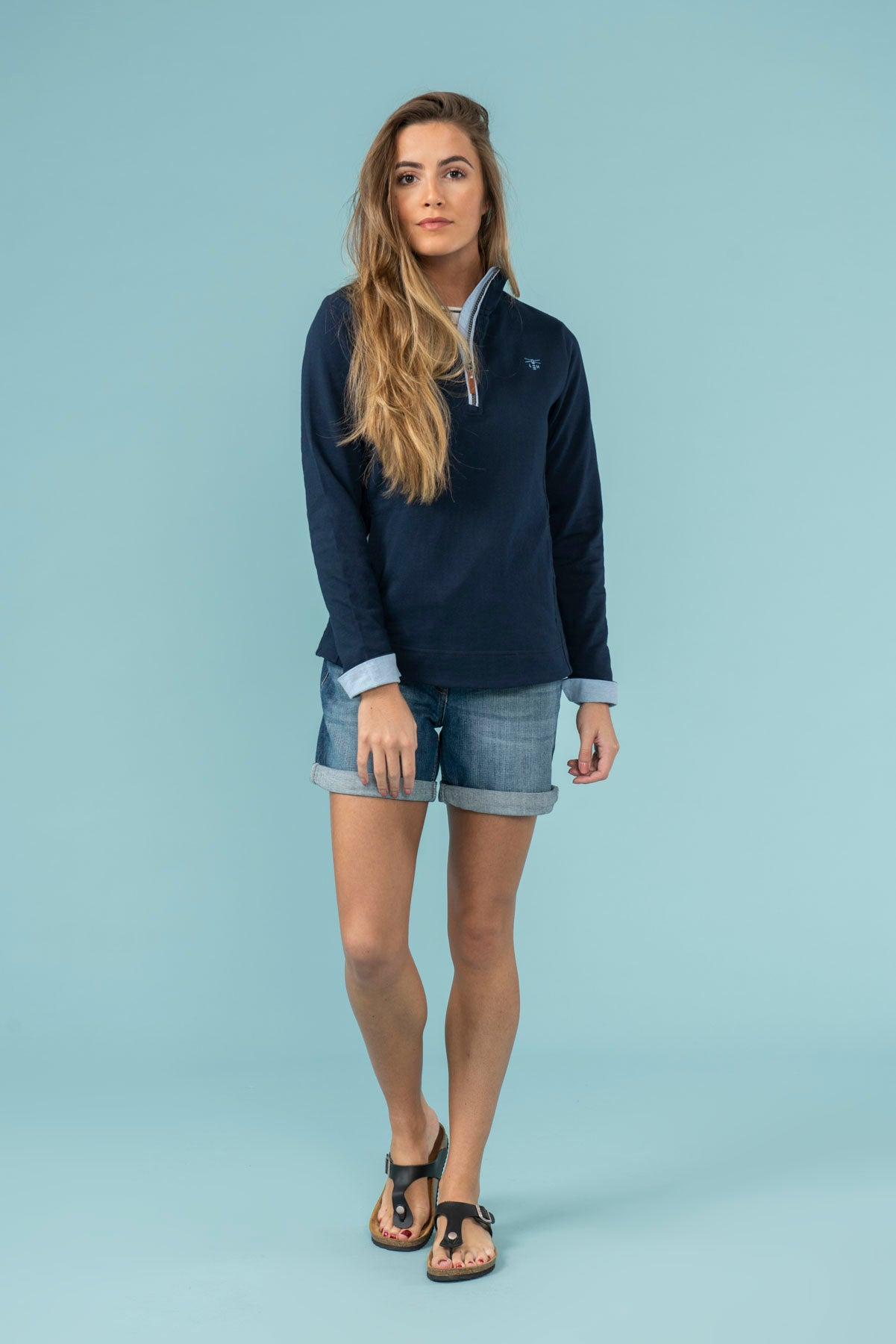 Women's Tops - Shore - Navy Half Zip Sweatshirt