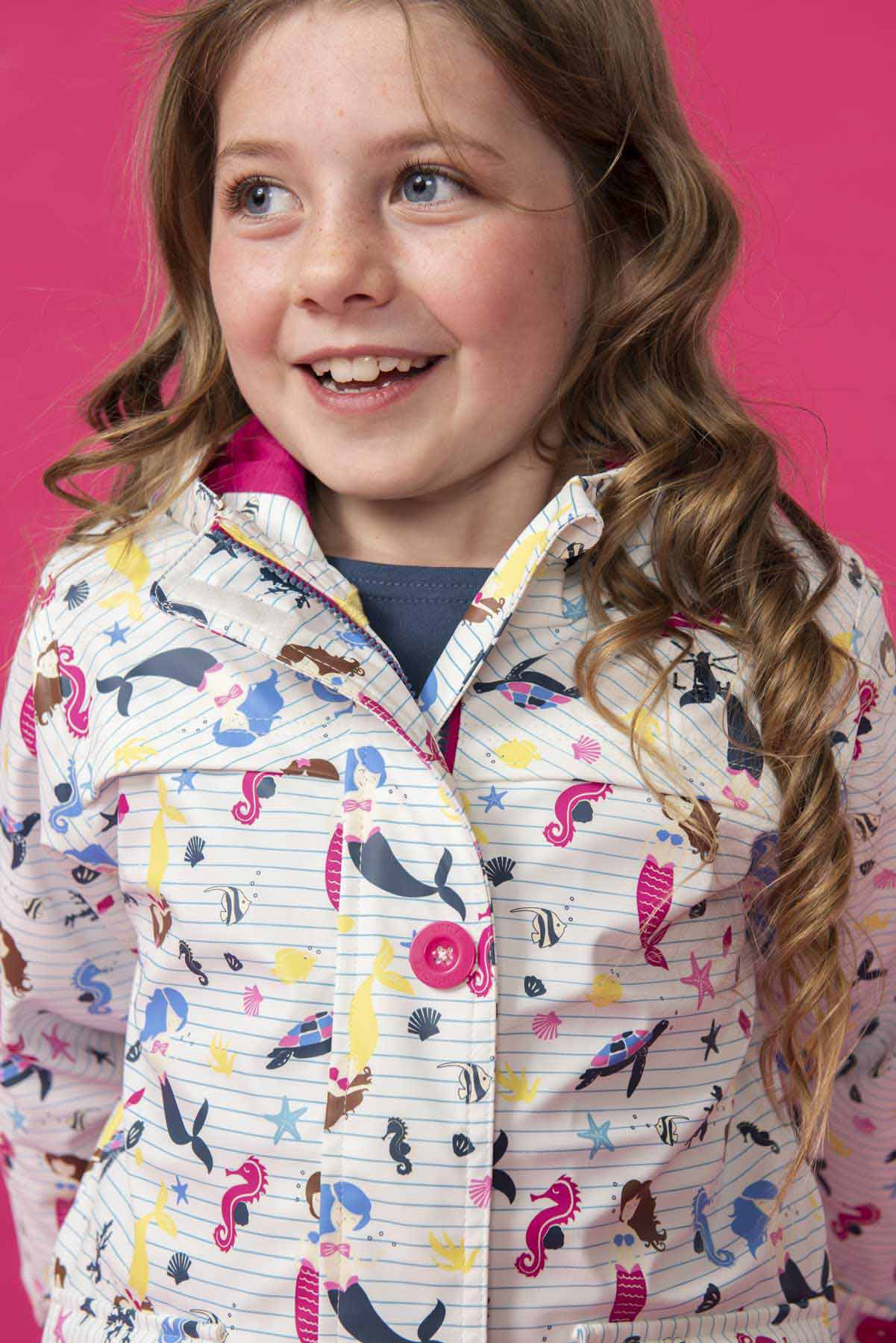 Girl's Coats - Sophia - White Mermaid Print Raincoat