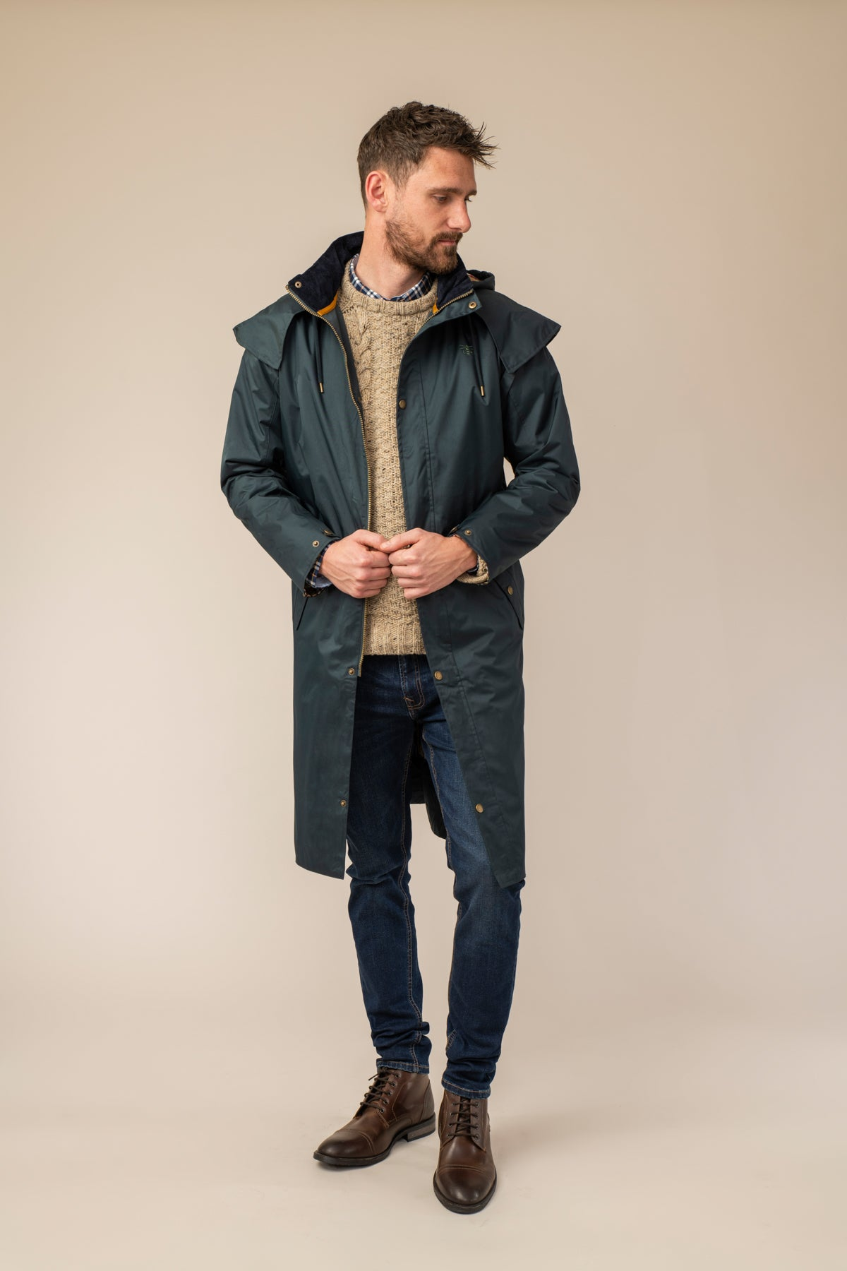 Stockman Full Length Rain Coat - Navy
