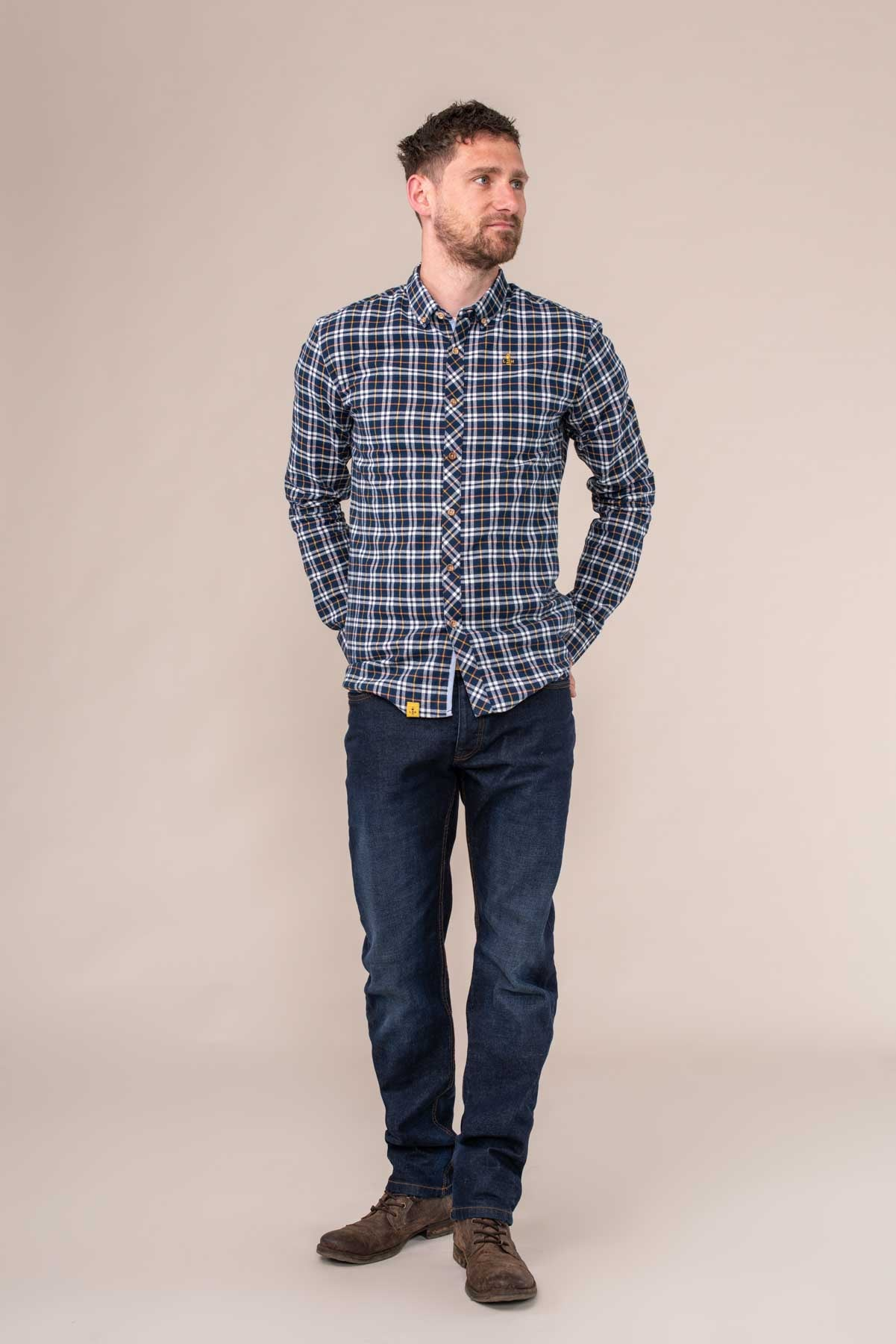 Tide Checked Shirt. 100% Cotton Oxford Style | Lighthouse
