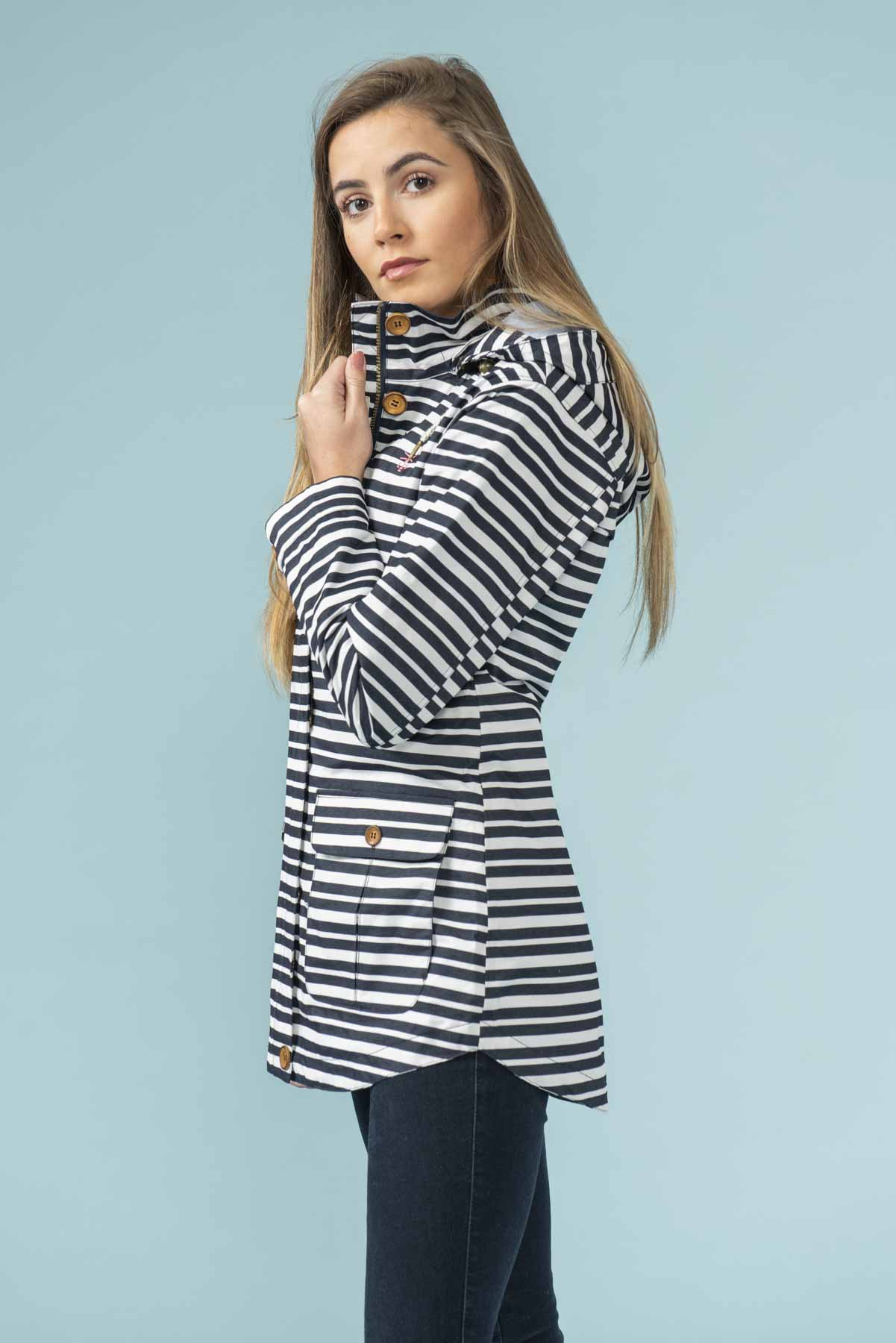Women's Coats - Tori - Navy White Stripe Raincoat