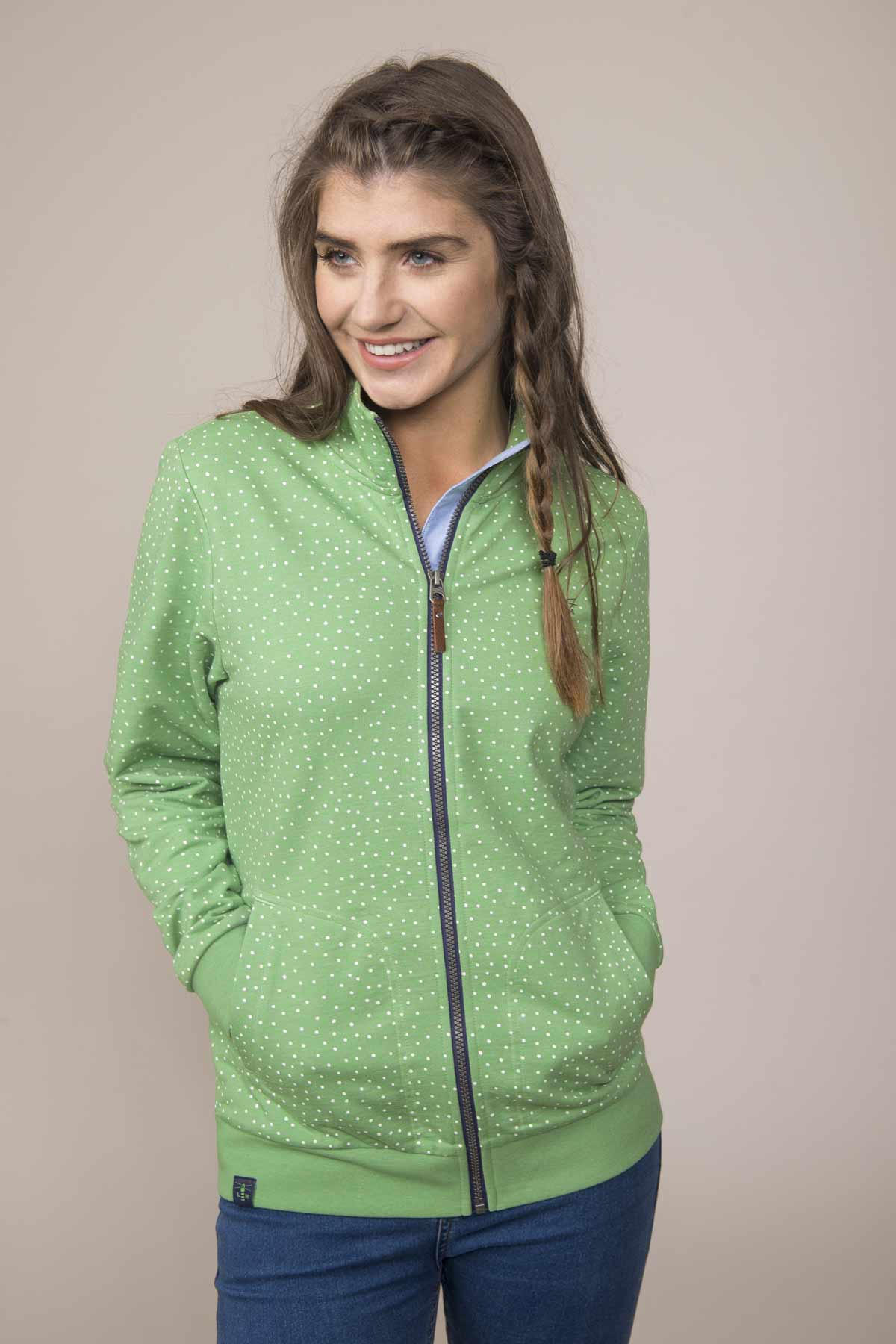 Lighthouse Tyrella women's pistachio dot zip through top