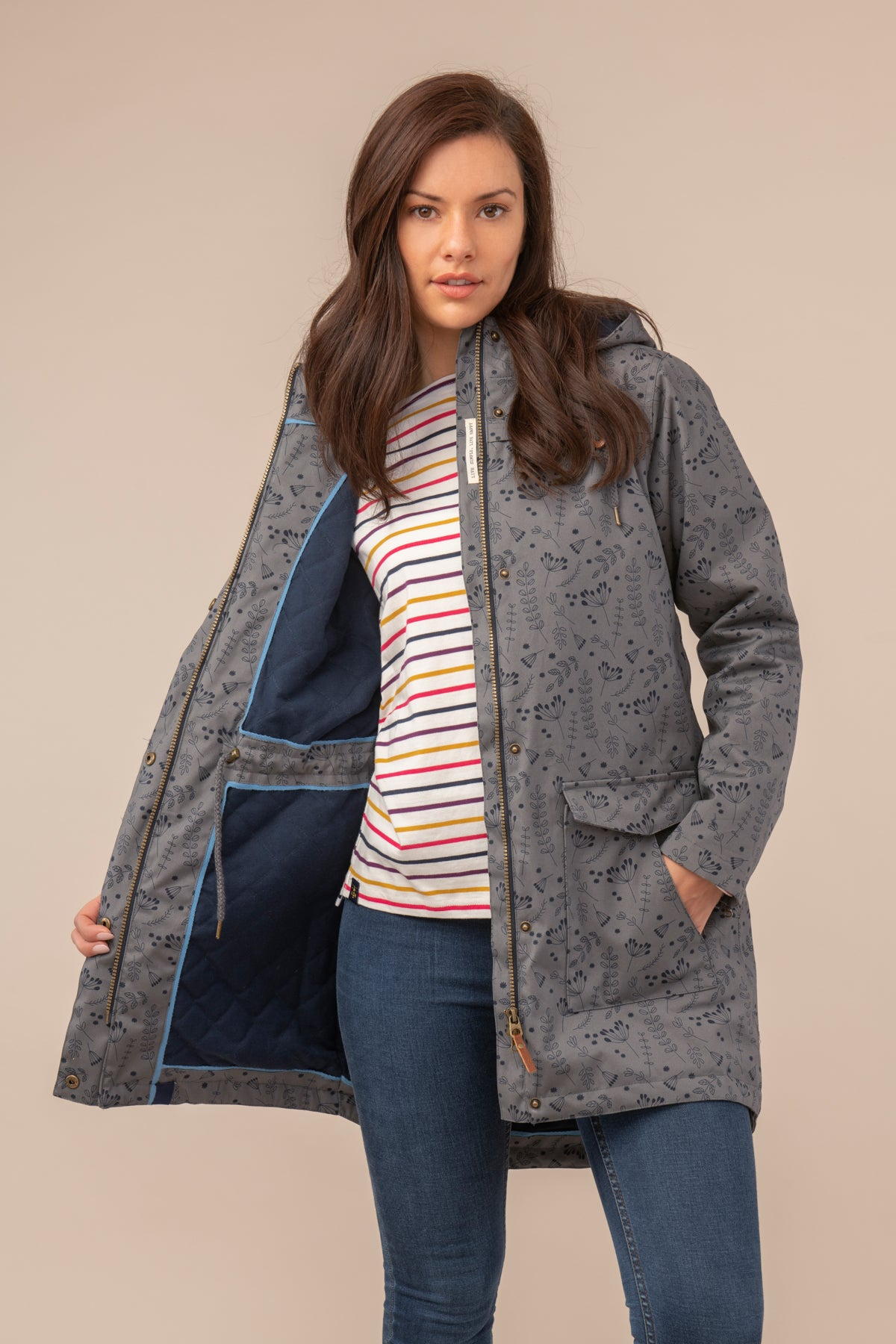 Lighthouse Alanna Womens Warm Waterproof 3/4 Length Parka - Grey Print