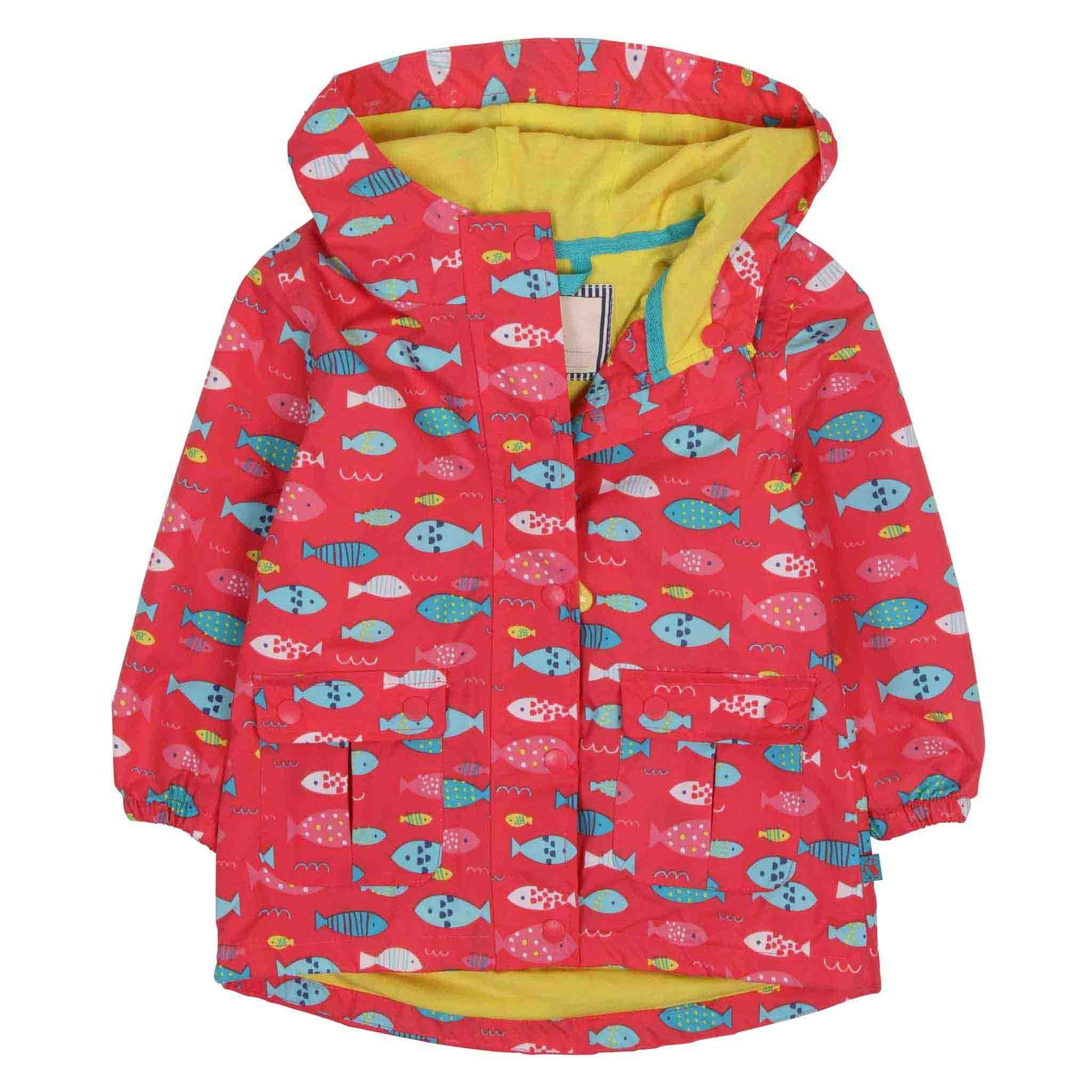 Carrie Printed Waterproof Coat - Rose Pink Fish Print