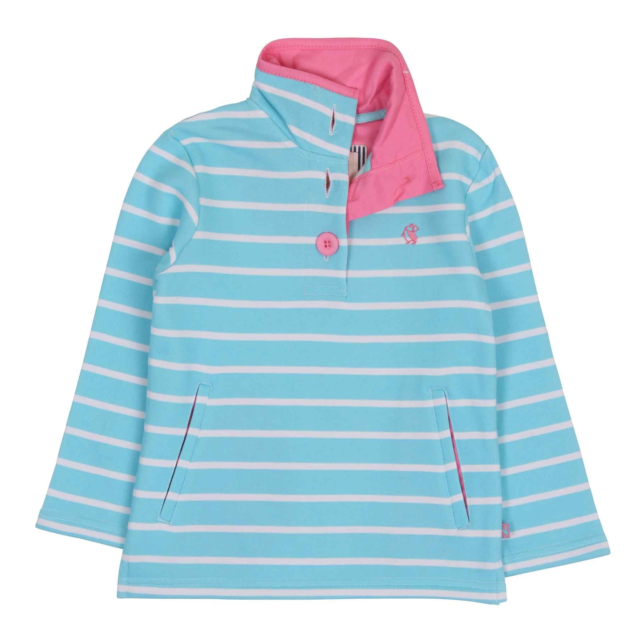 Pearl Cotton Jersey Top - Aqua Stripe