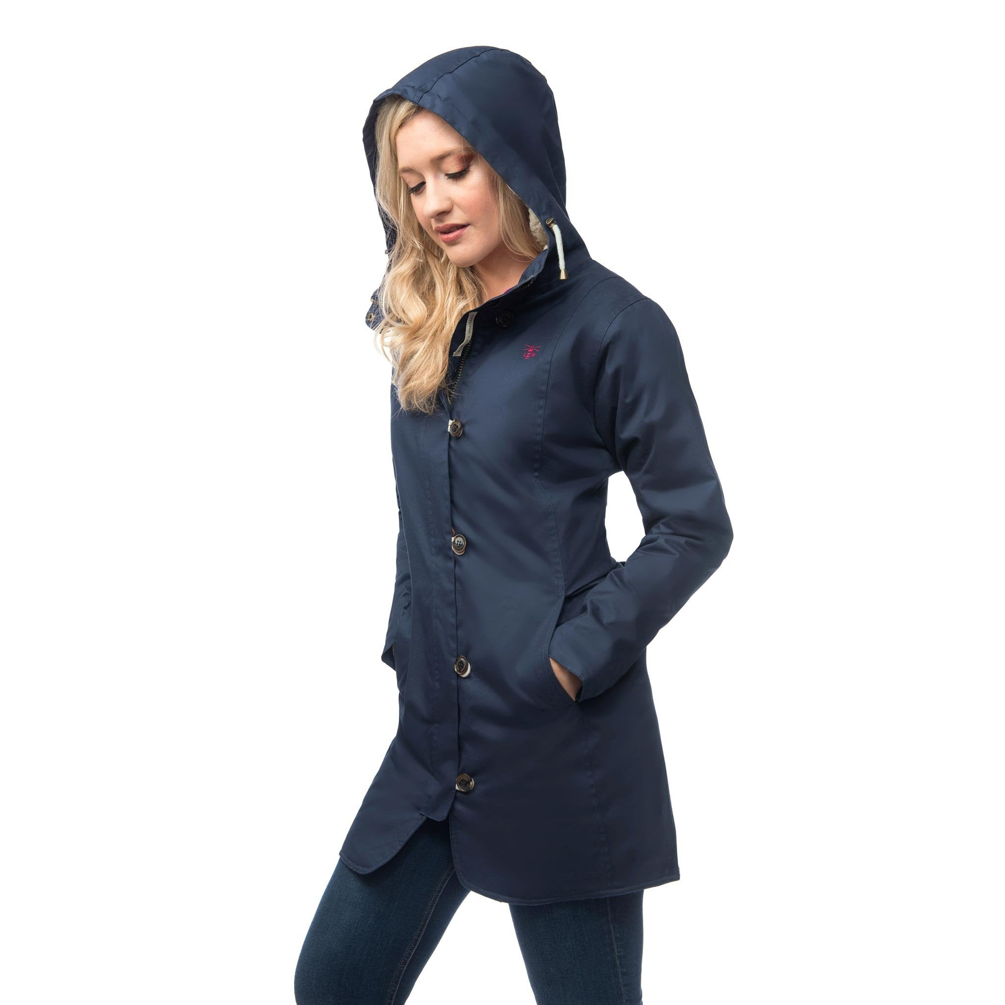 Lighthouse Womens Reva Waterproof Hooded Parka Raincoat in Navy Nightshade. Hood up.