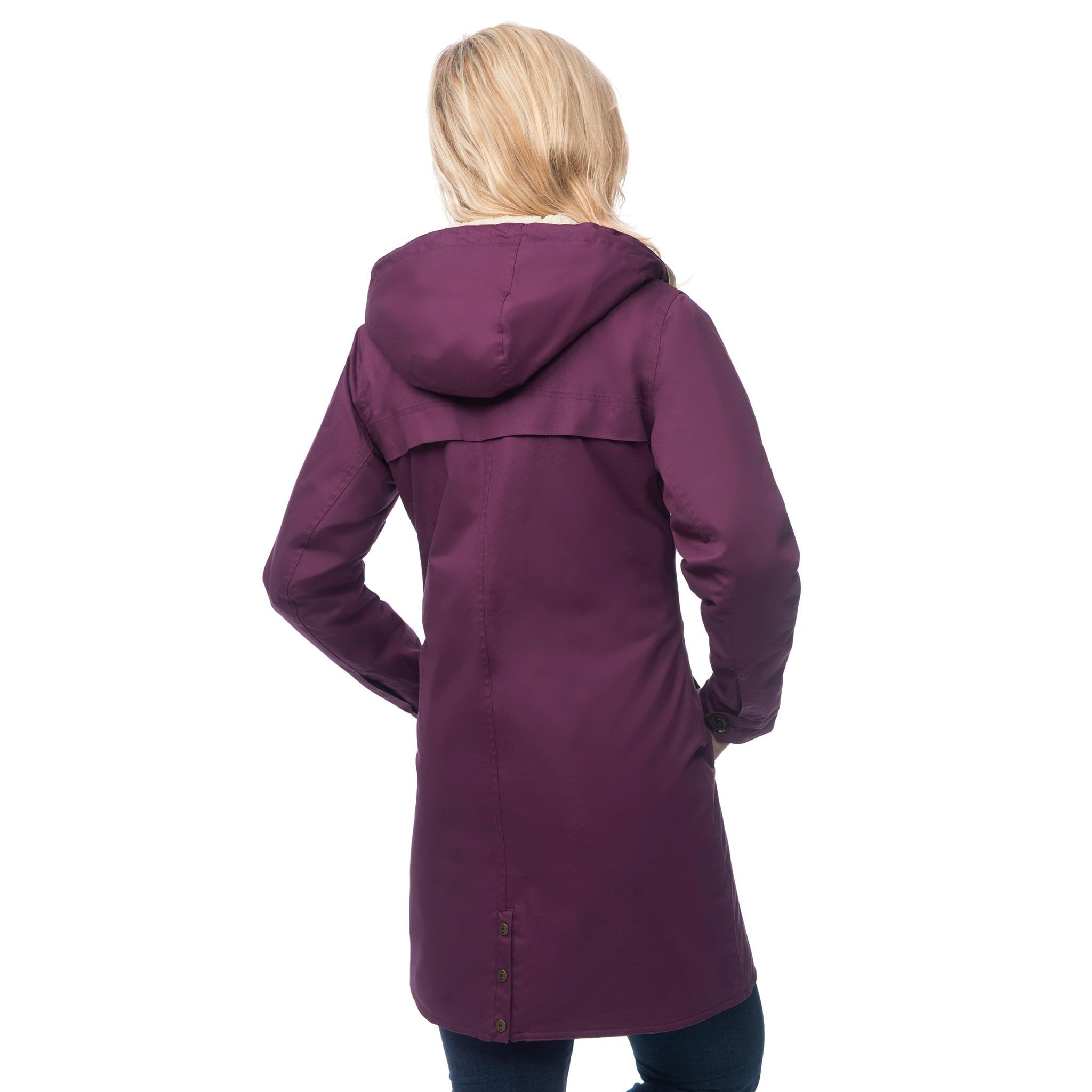 Lighthouse Womens Reva Waterproof Hooded Parka Raincoat in Plum. Showing rear vent.