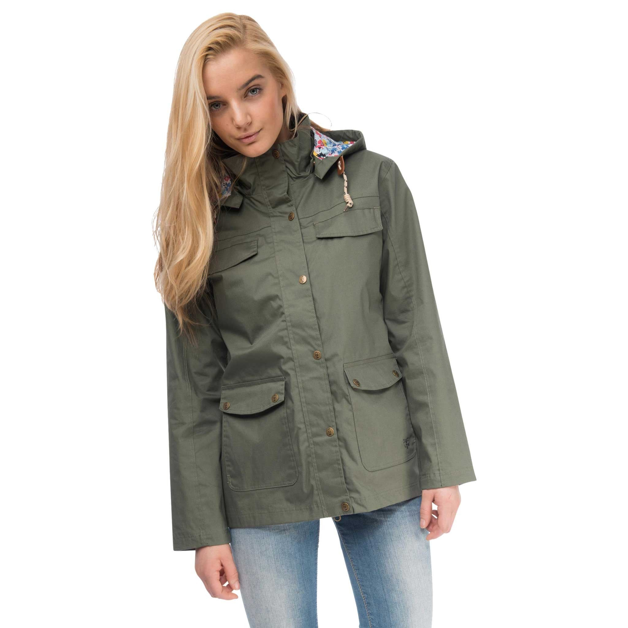 Romy Womens Waterproof Jacket with Cotton Outer in Willow Green be1fe120ba